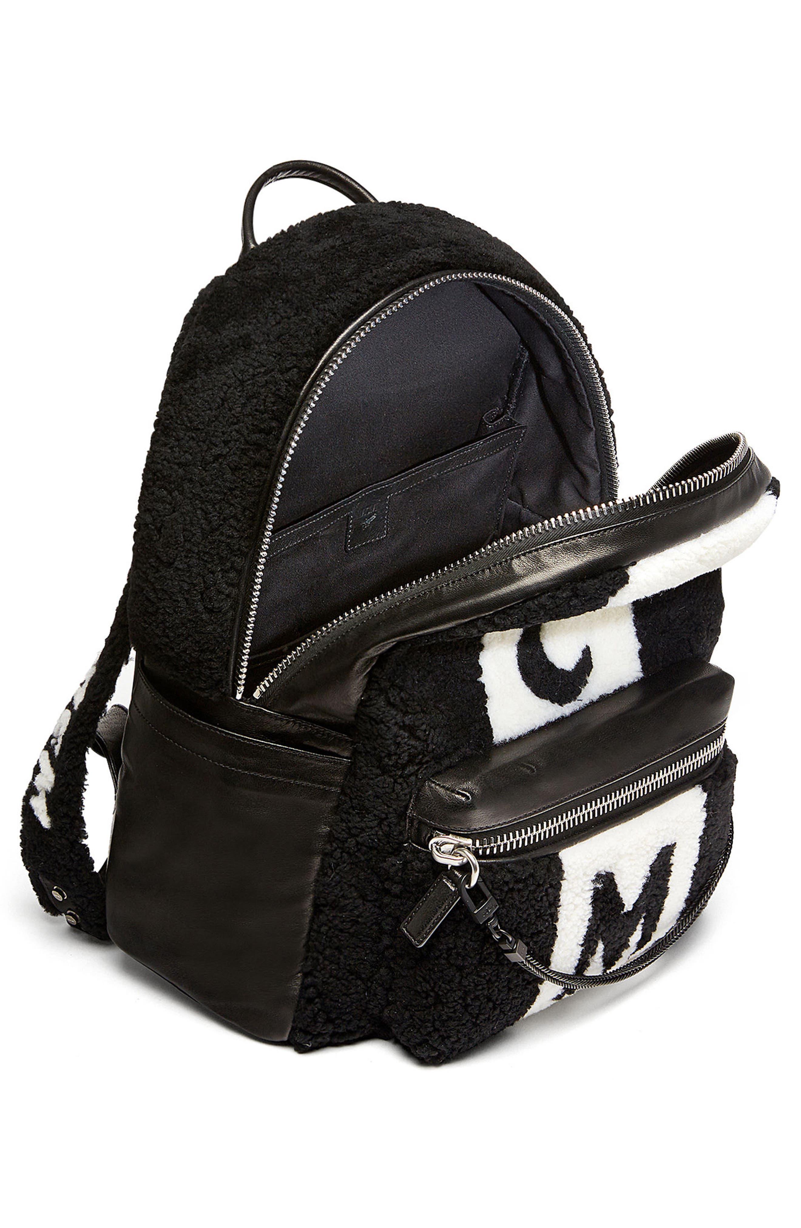 Alternate Image 3  - MCM Stark Genuine Shearling Stripe Canvas Backpack