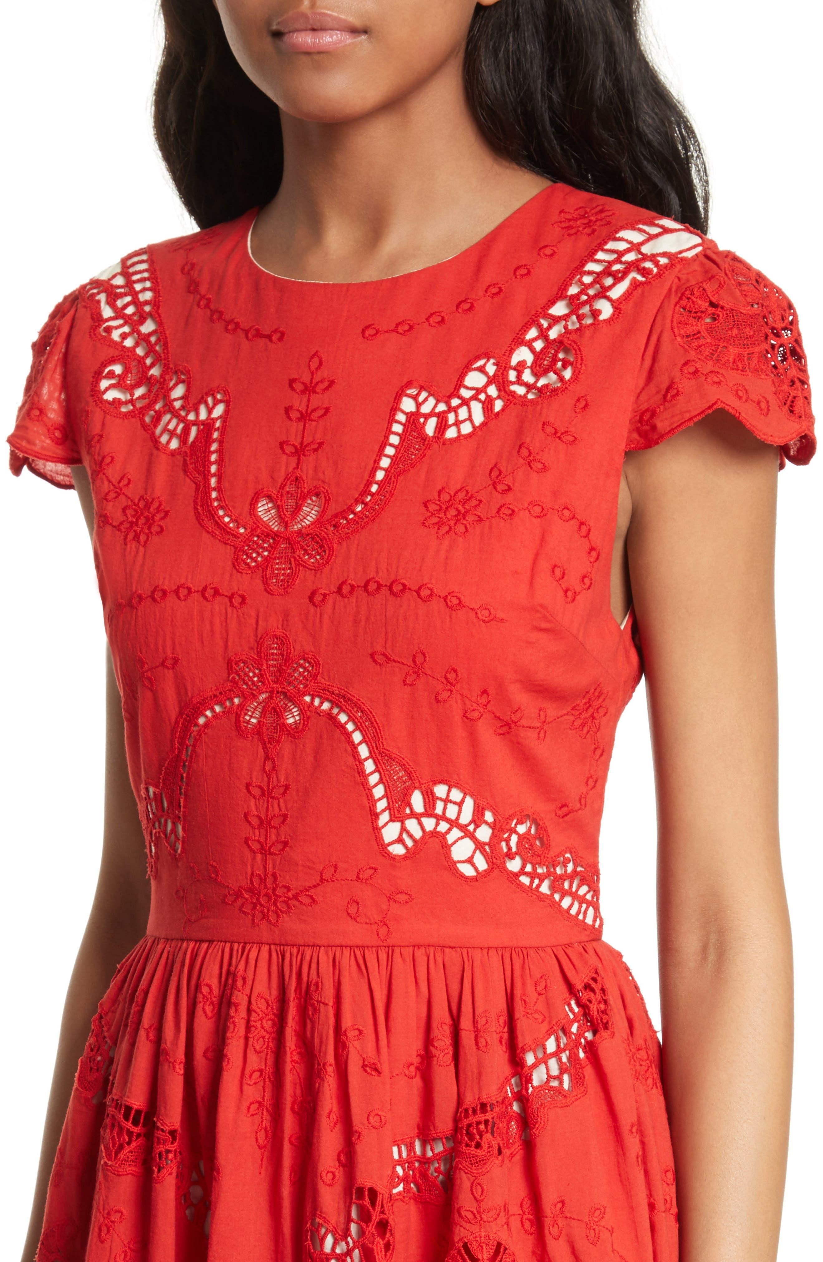Alternate Image 4  - Alice + Olivia Karen Eyelet Embroidered Party Dress