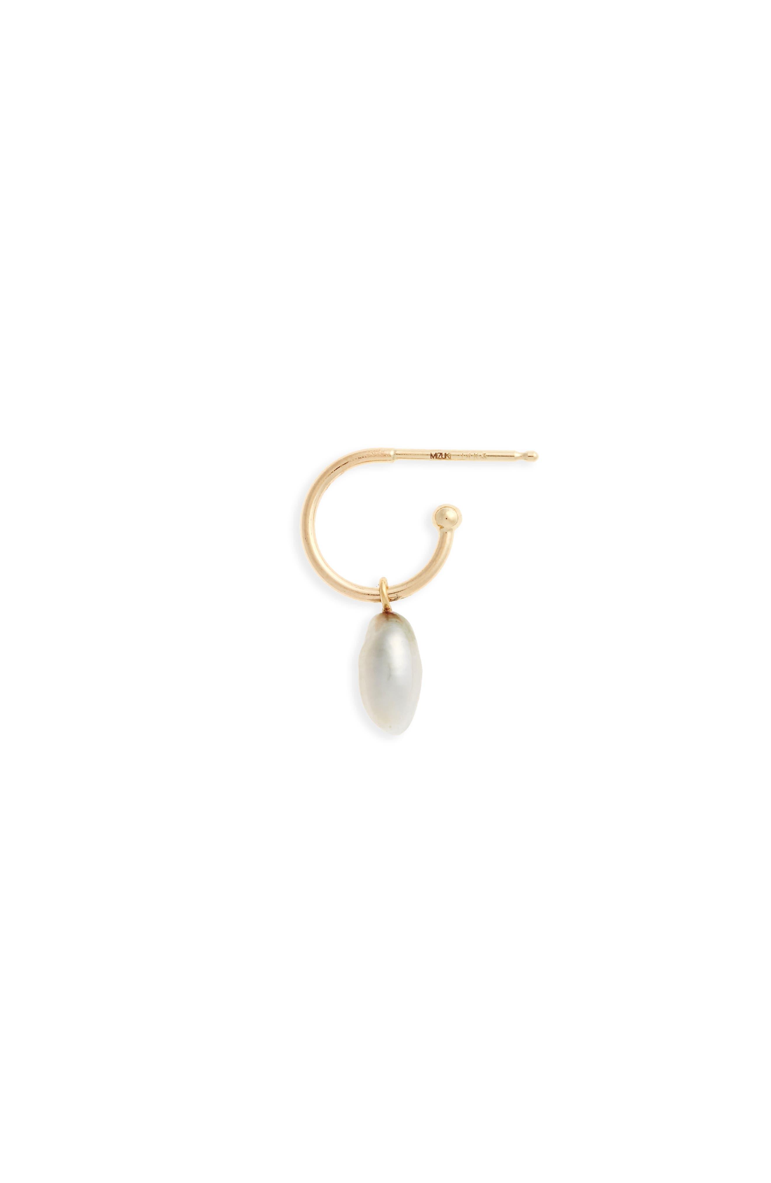 Sea of Beauty Pearl Single Hoop Earring,                         Main,                         color, Yellow Gold/ Grey Pearl