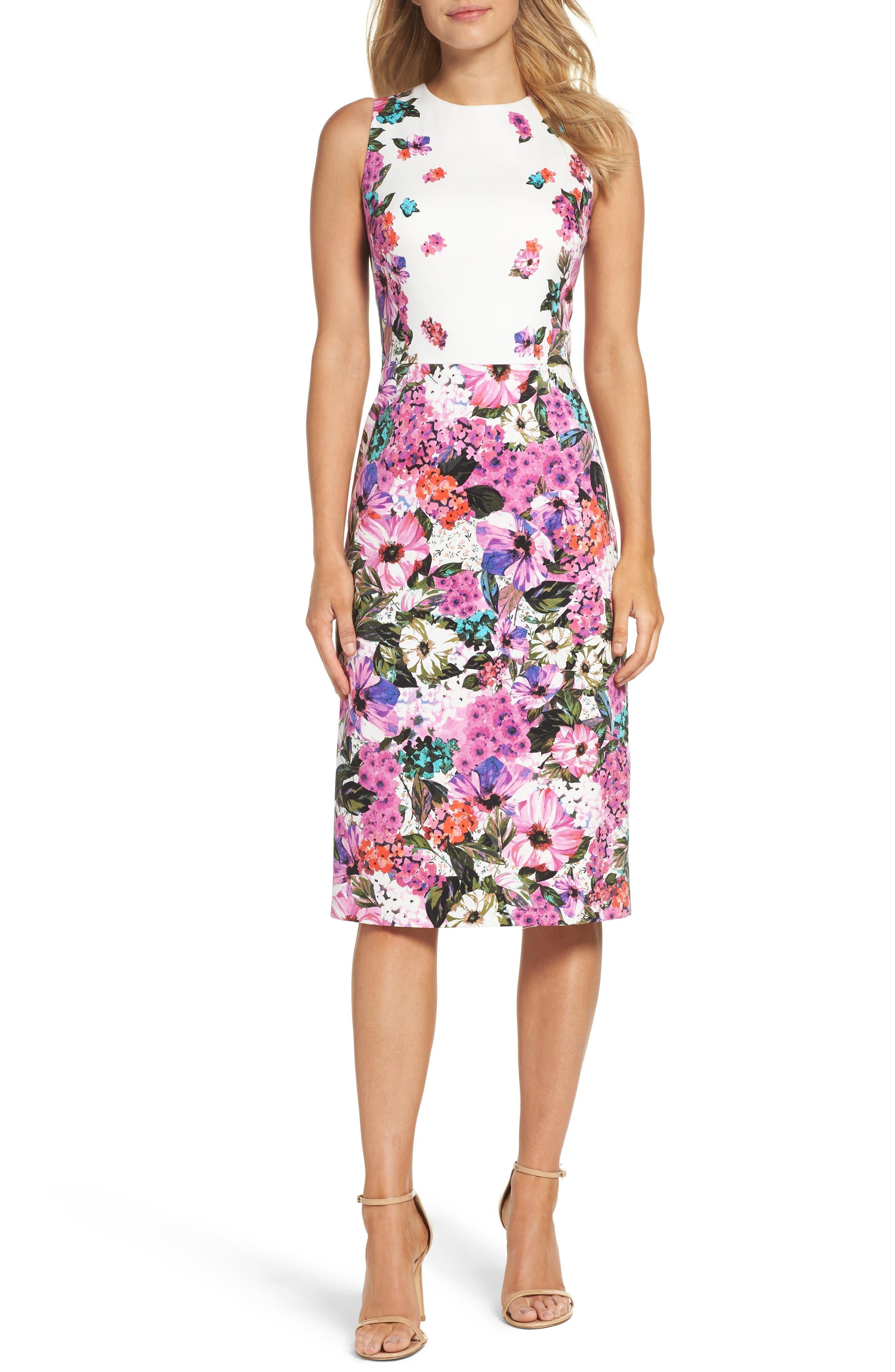 Maggy London Floral Garden Sheath Dress (Regular & Petite)