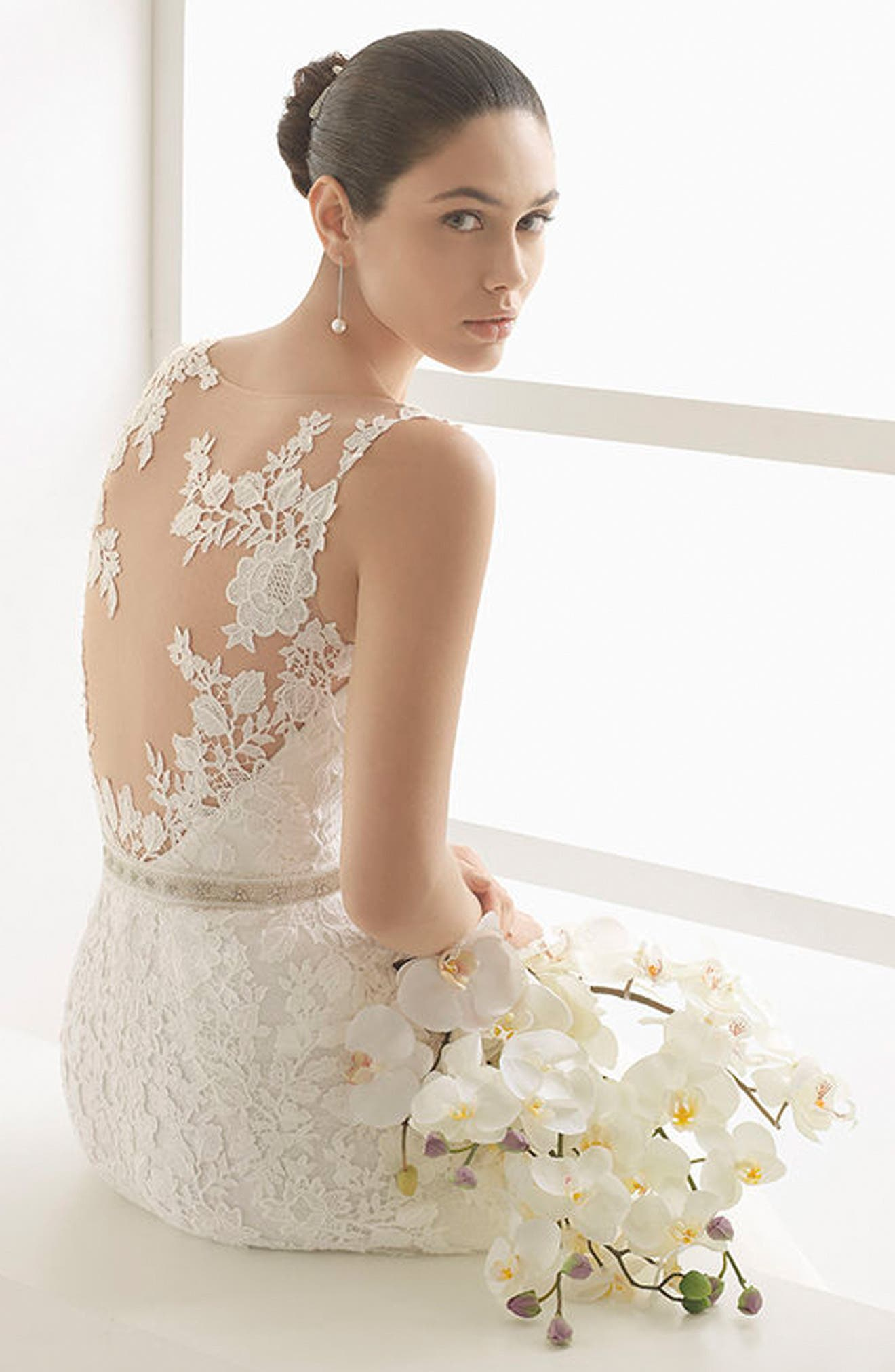 Oda Sleeveless Lace & Tulle Gown,                             Alternate thumbnail 3, color,                             Natural