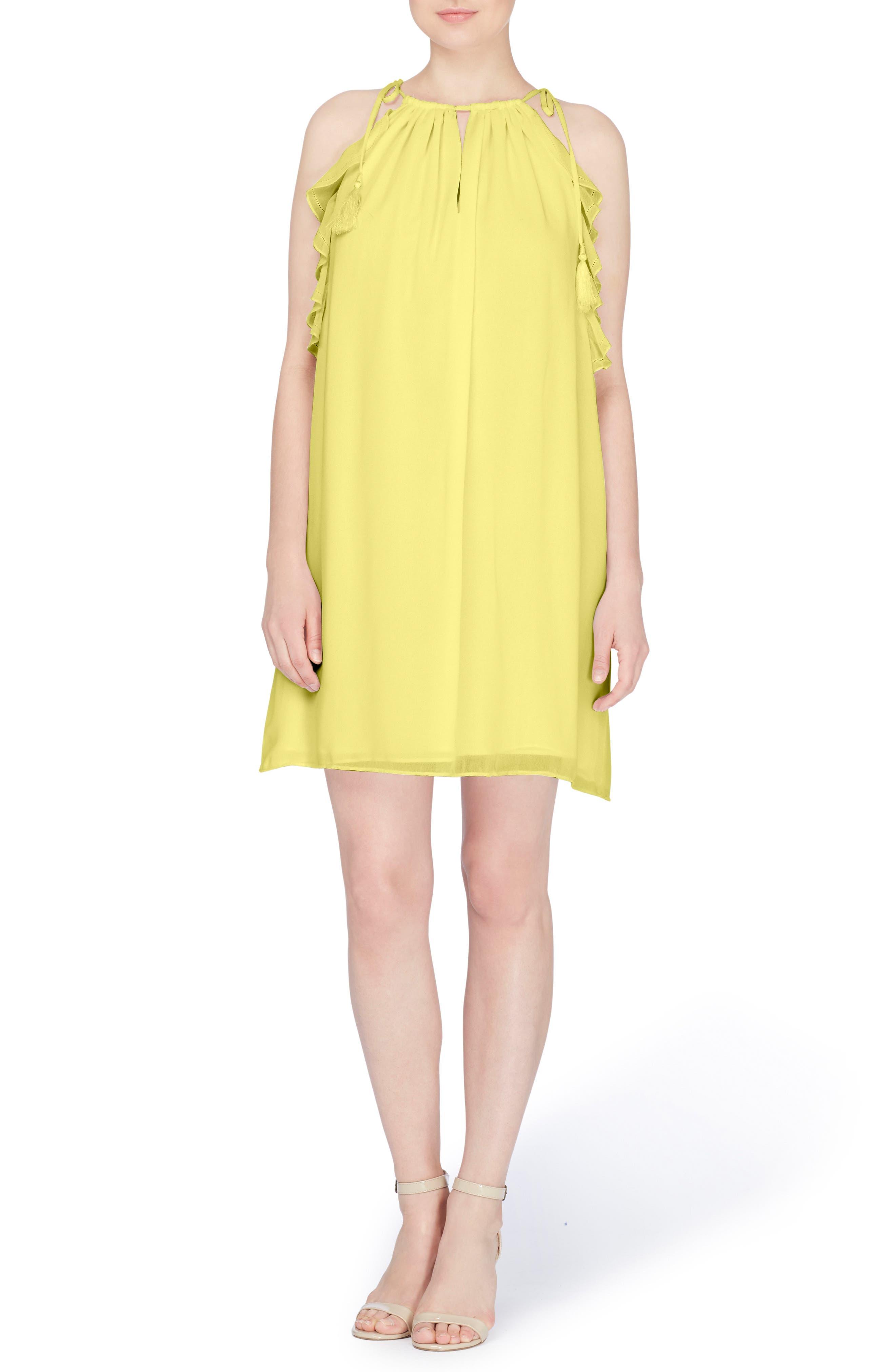 Natalie Tie Shoulder Shift Dress,                         Main,                         color, Buttercup
