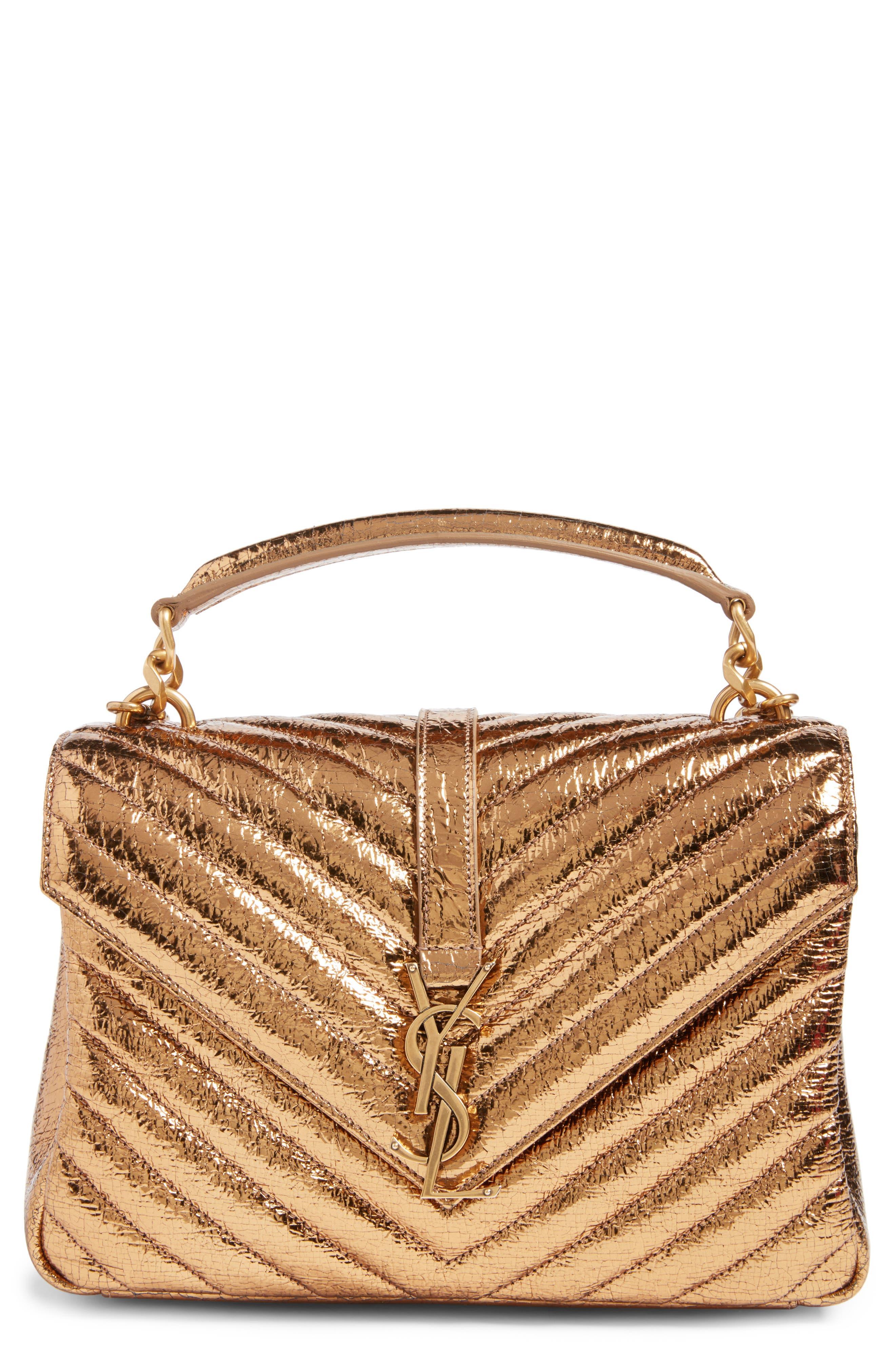 SAINT LAURENT Medium College Crackle Metallic Leather Shoulder Bag