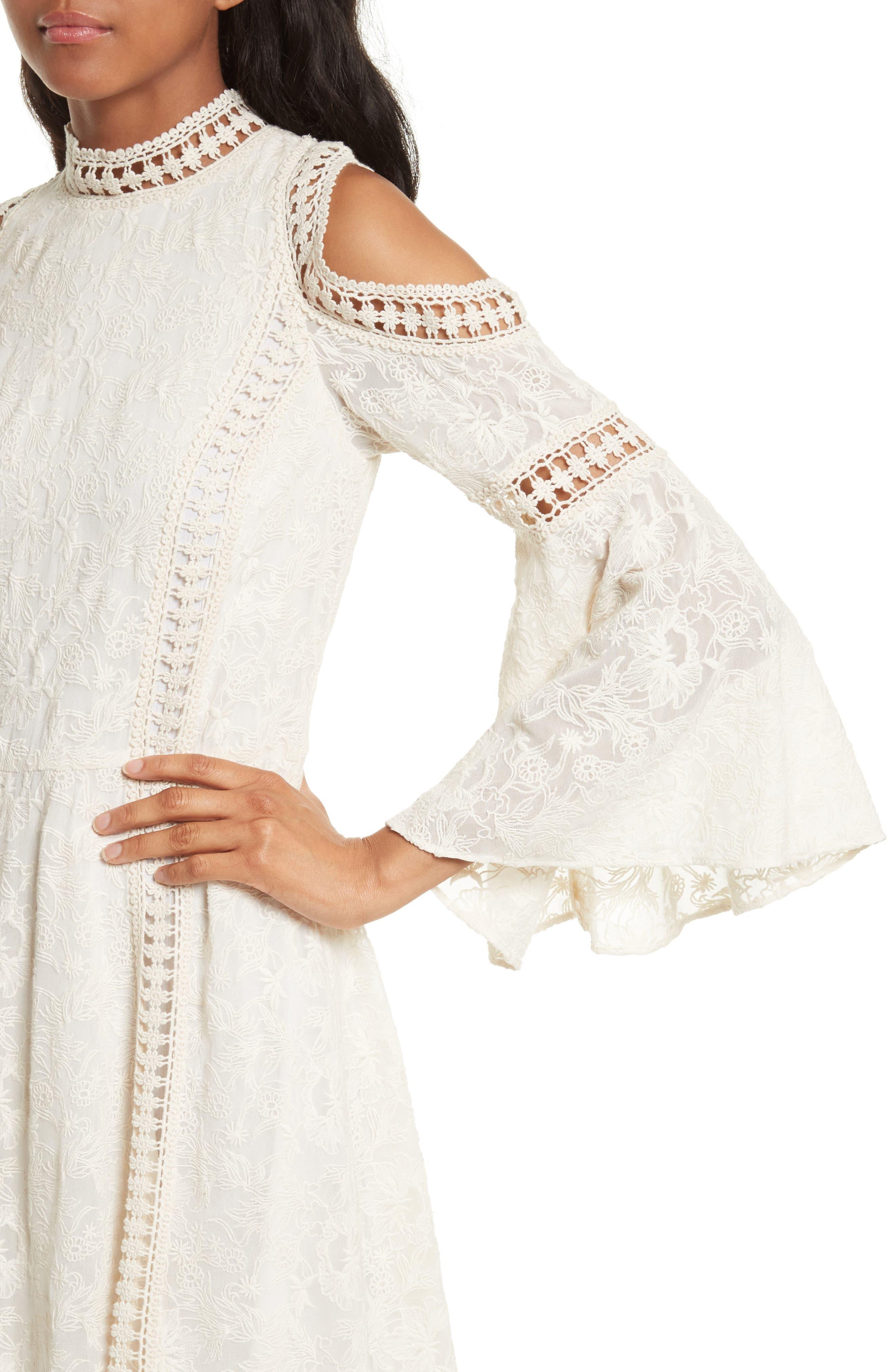 Enya Embroidered Cold Shoulder Dress,                             Alternate thumbnail 4, color,                             Cream