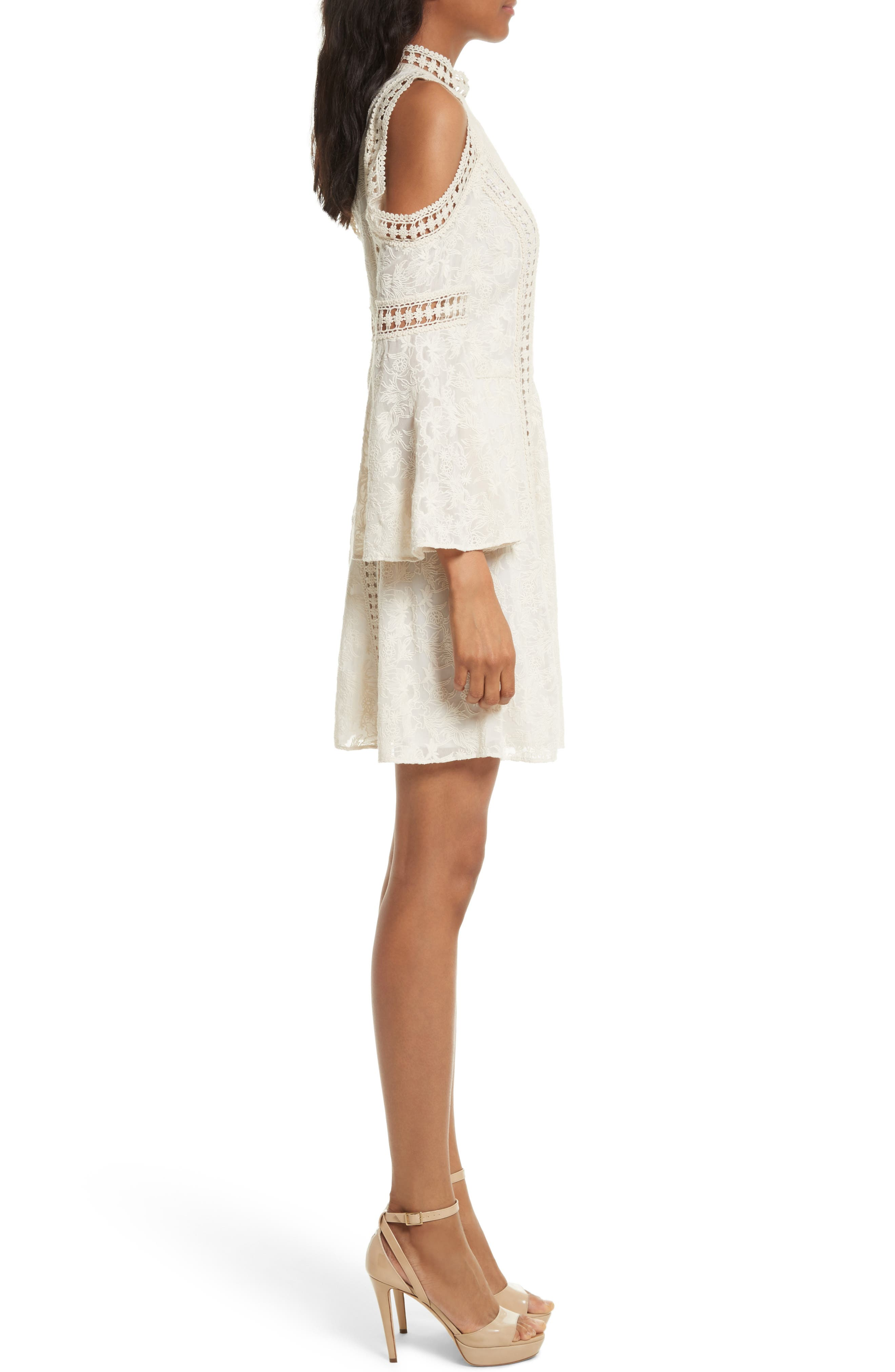 Enya Embroidered Cold Shoulder Dress,                             Alternate thumbnail 3, color,                             Cream