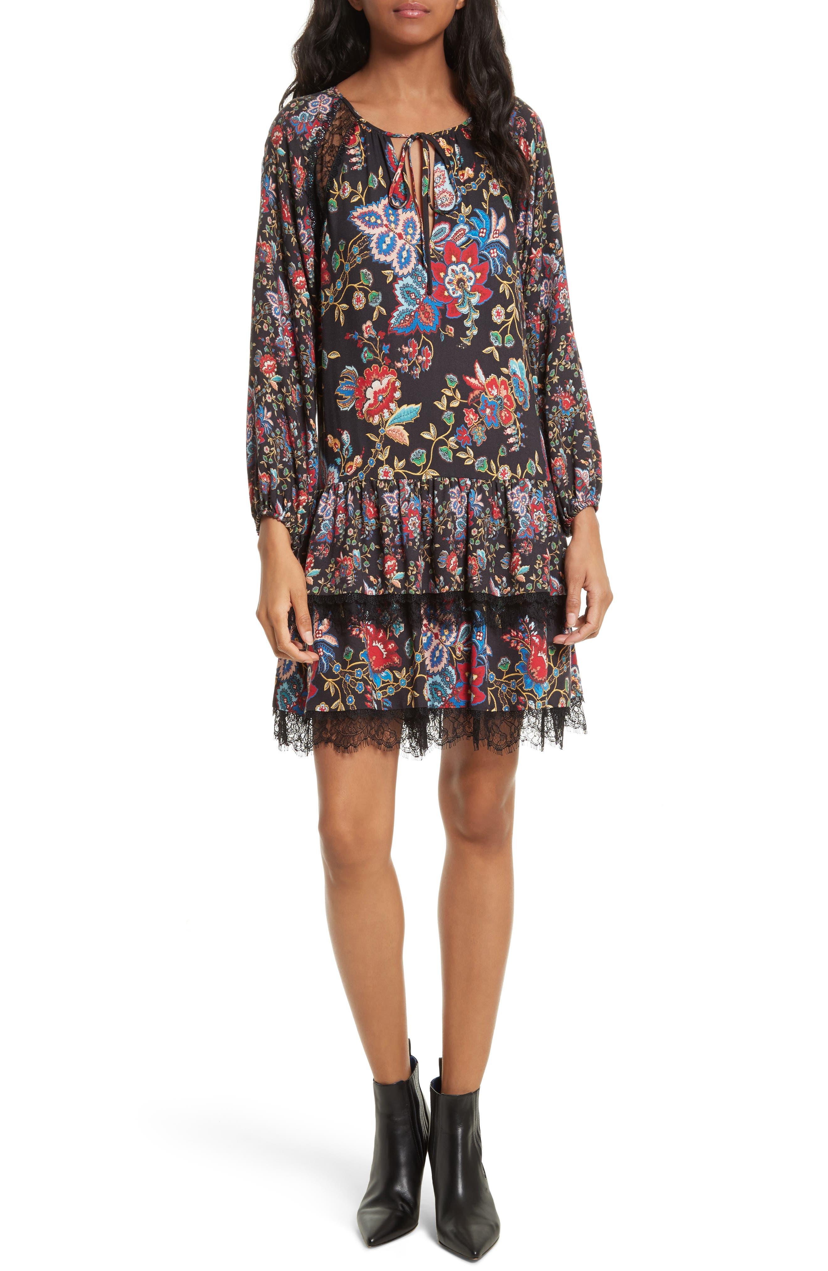 Lakita Tiered Tunic Dress,                         Main,                         color, Gloria Tapestry/ Black