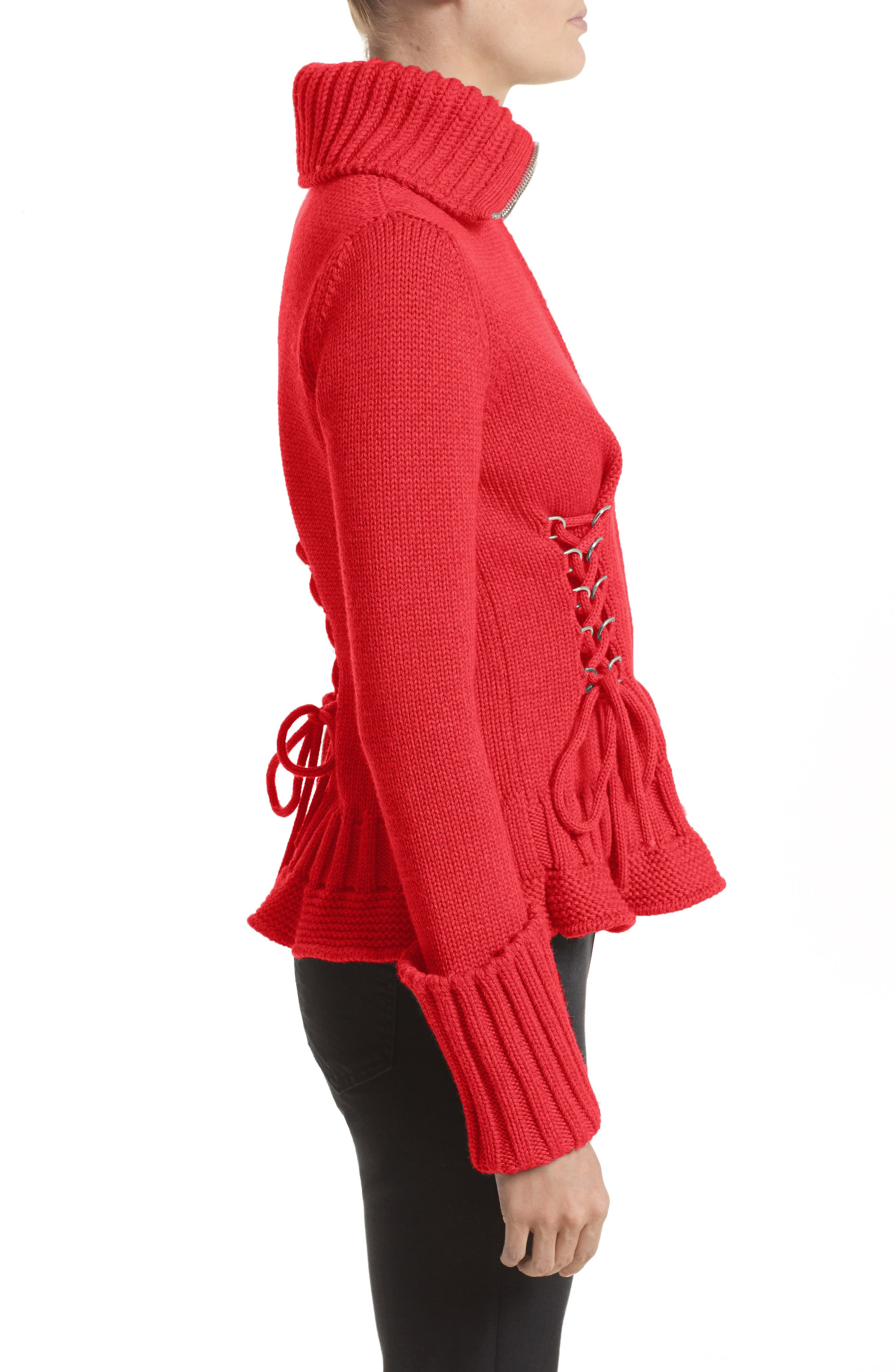 Lace-Up Wool Cardigan,                             Alternate thumbnail 5, color,                             Scarlet Red