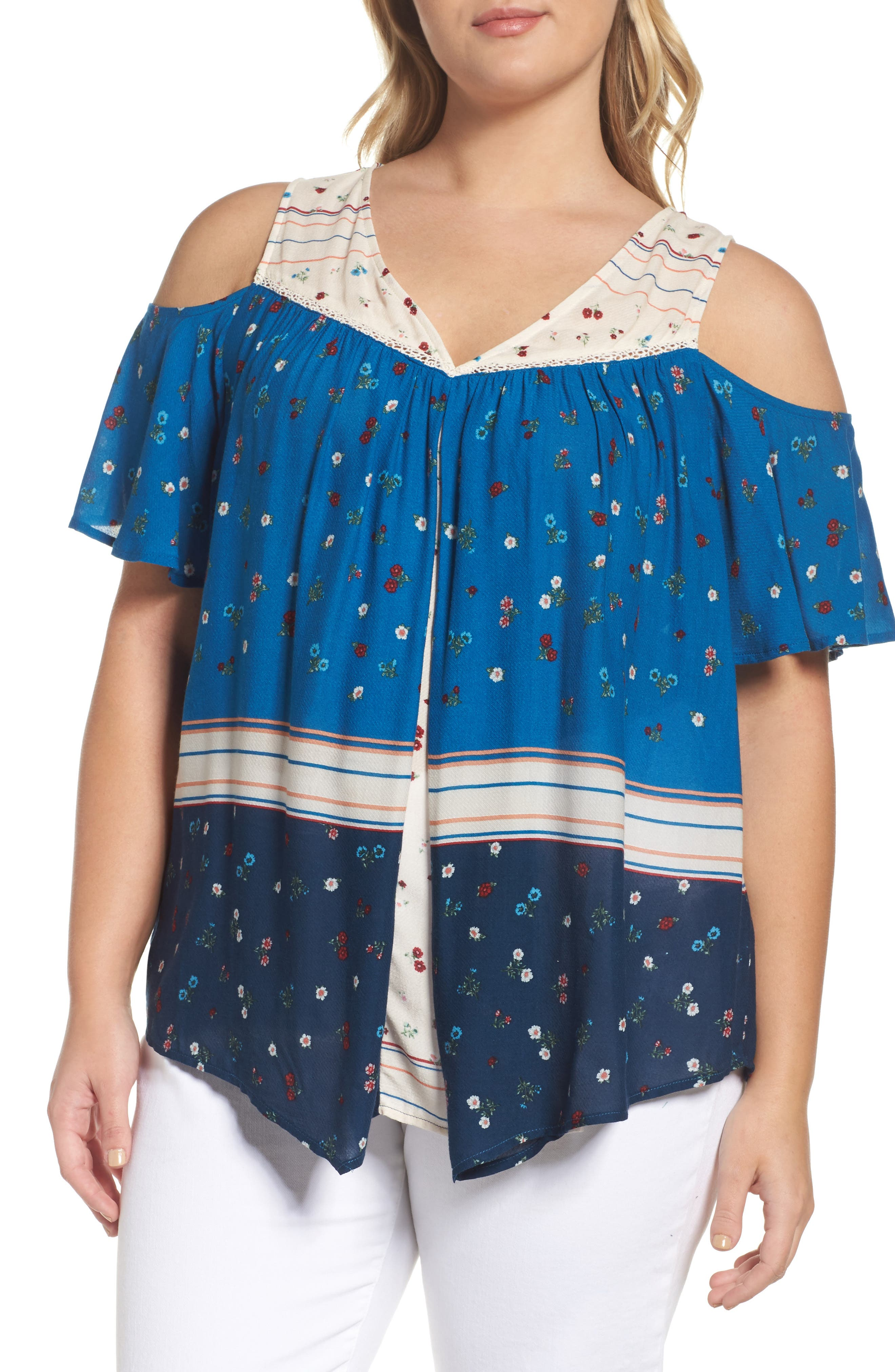 Alternate Image 1 Selected - Wit & Wisdom Pleat Cold Shoulder Top (Plus Size) (Nordstrom Exclusive)