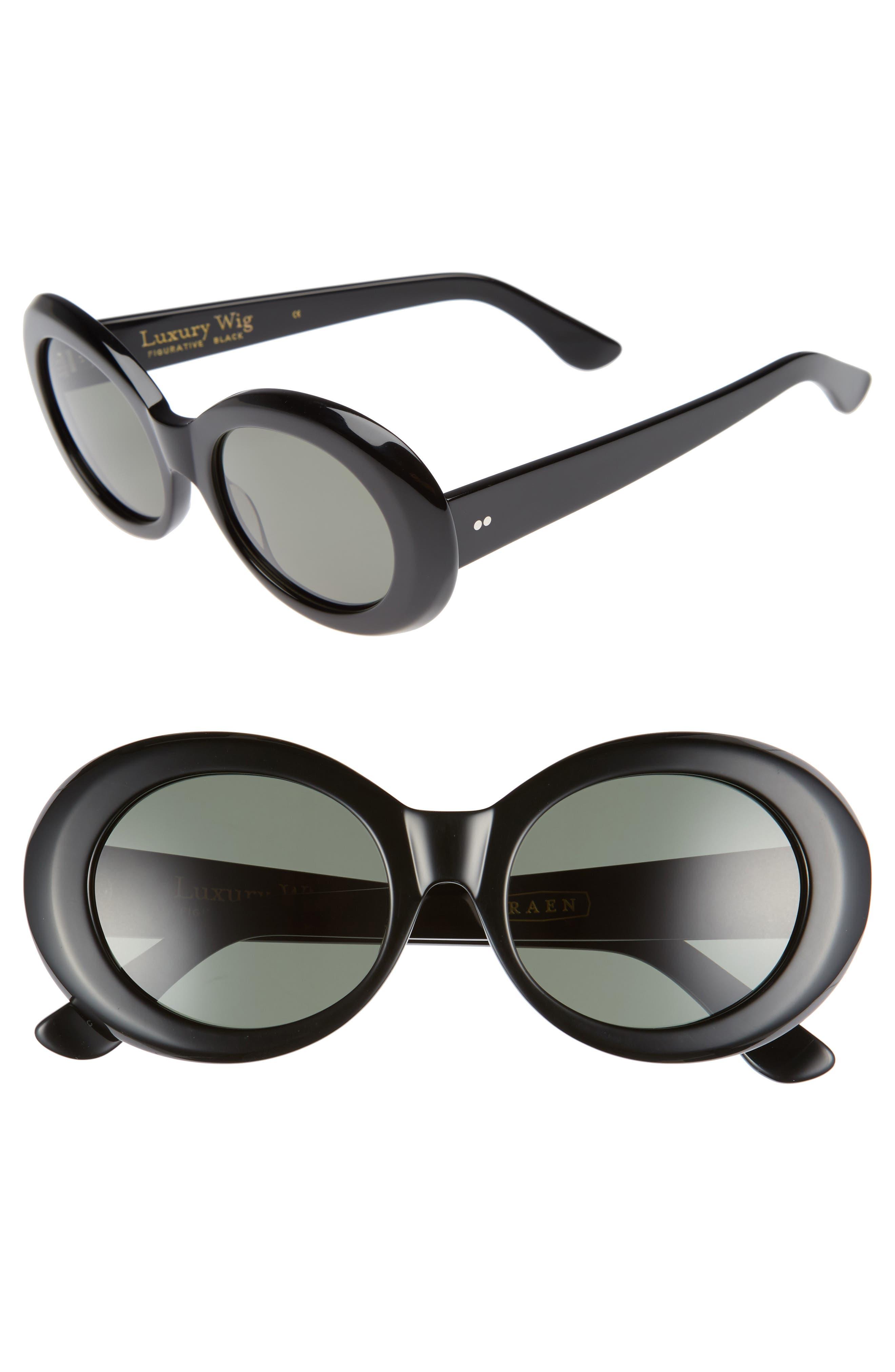 x Alex Knost Luxury Wig Figurative 53mm Sunglasses,                         Main,                         color, Black