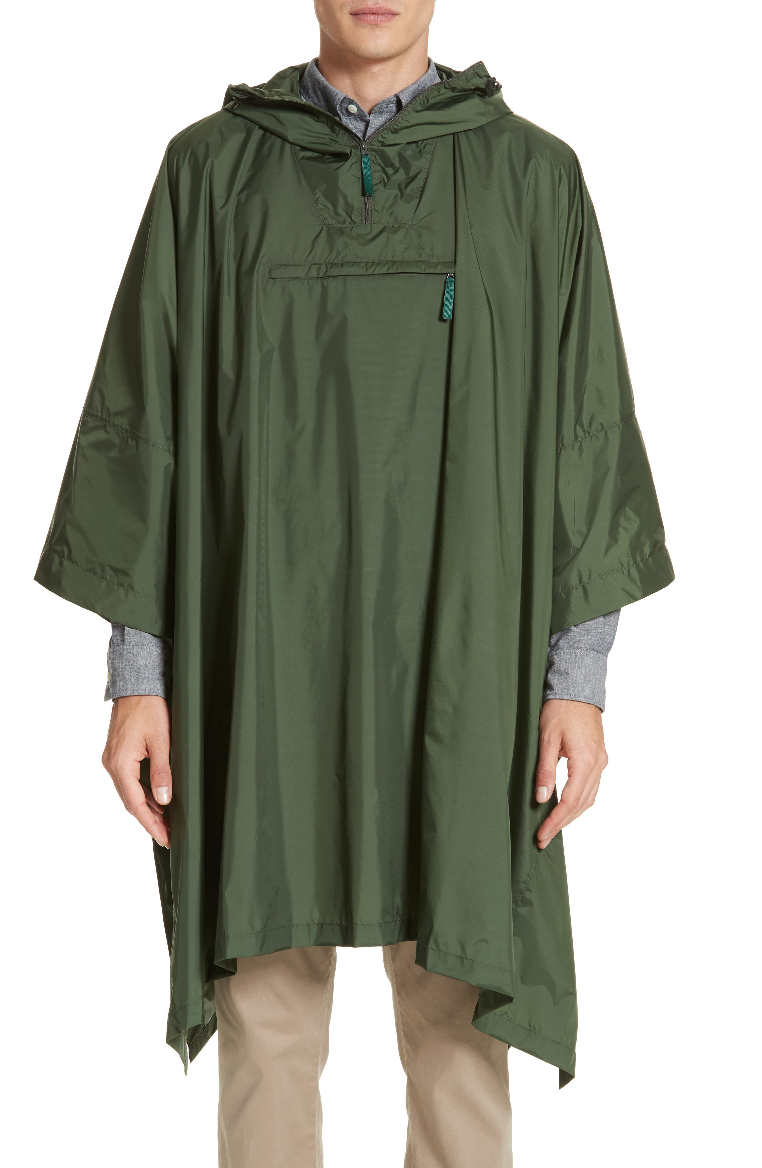 Packable Nylon Poncho,                         Main,                         color, Forest Green