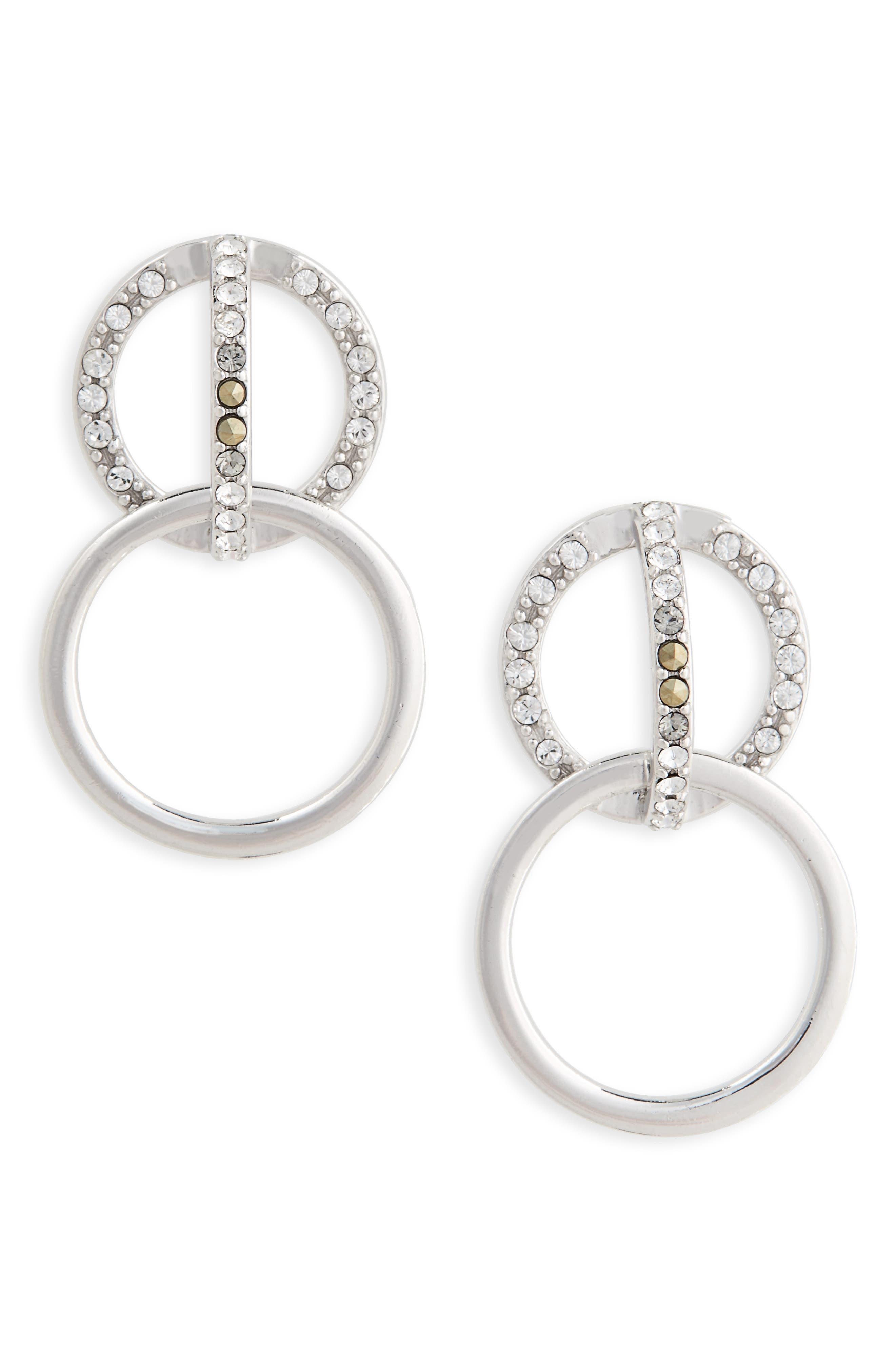 JUDITH JACK Silver Sparkle Double Drop Earrings