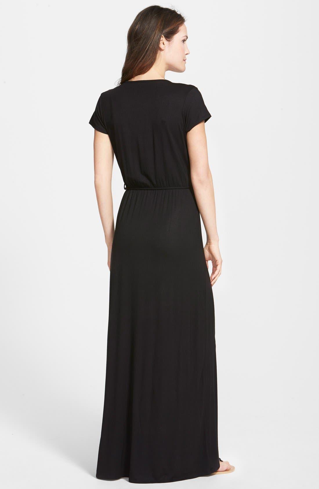 Alternate Image 2  - Loveappella Cap Sleeve Faux Wrap Jersey Maxi Dress (Regular & Petite)