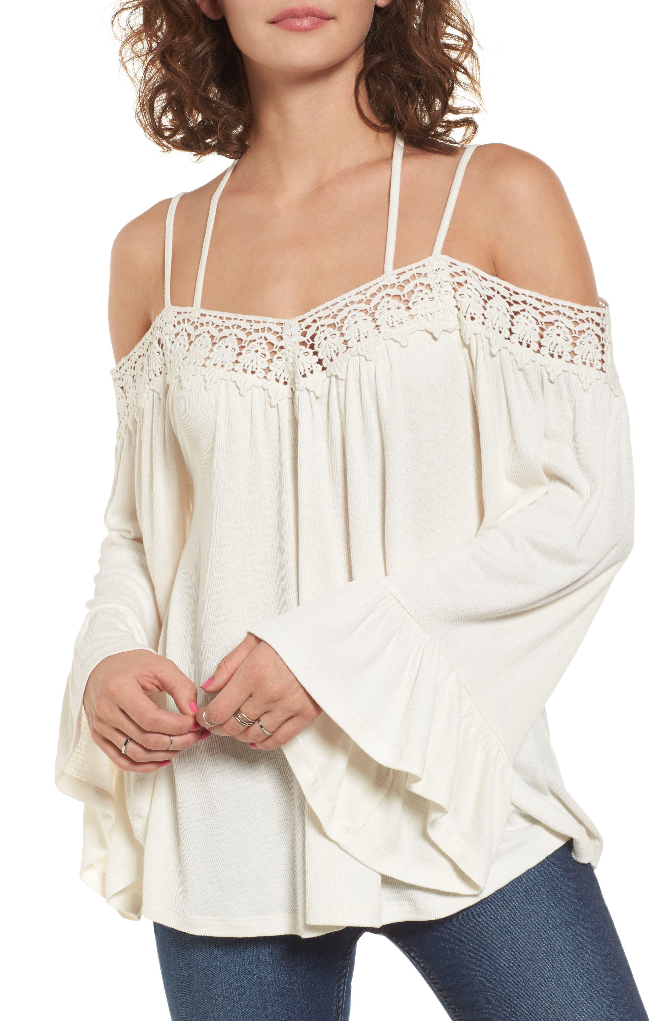 SUN & SHADOW Crochet Trim Off the Shoulder Top