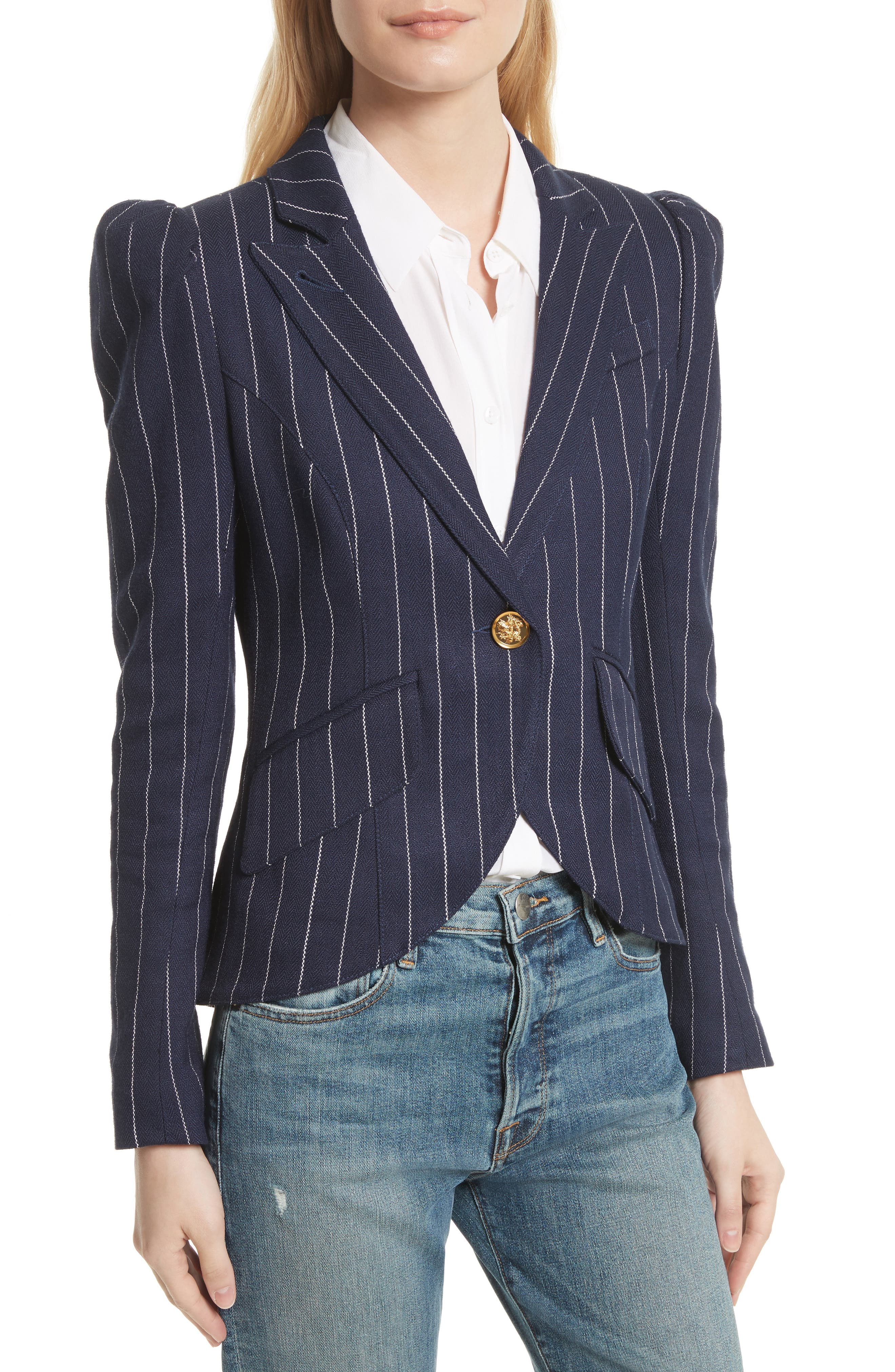 Stripe Puff Sleeve Blazer,                             Alternate thumbnail 4, color,                             Navy Pinstripe