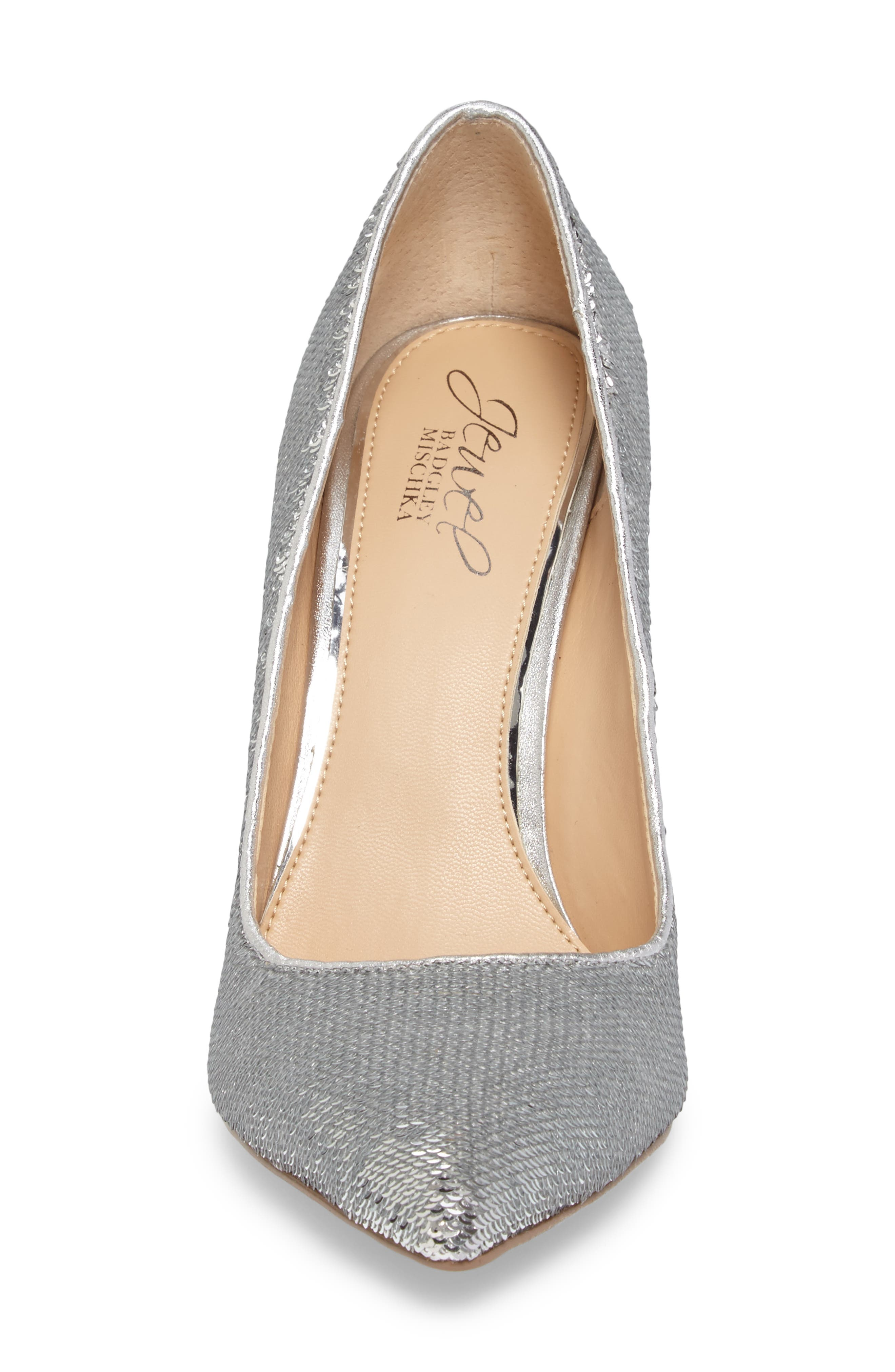 Luxury Pointy Toe Pump,                             Alternate thumbnail 4, color,                             Silver Leather