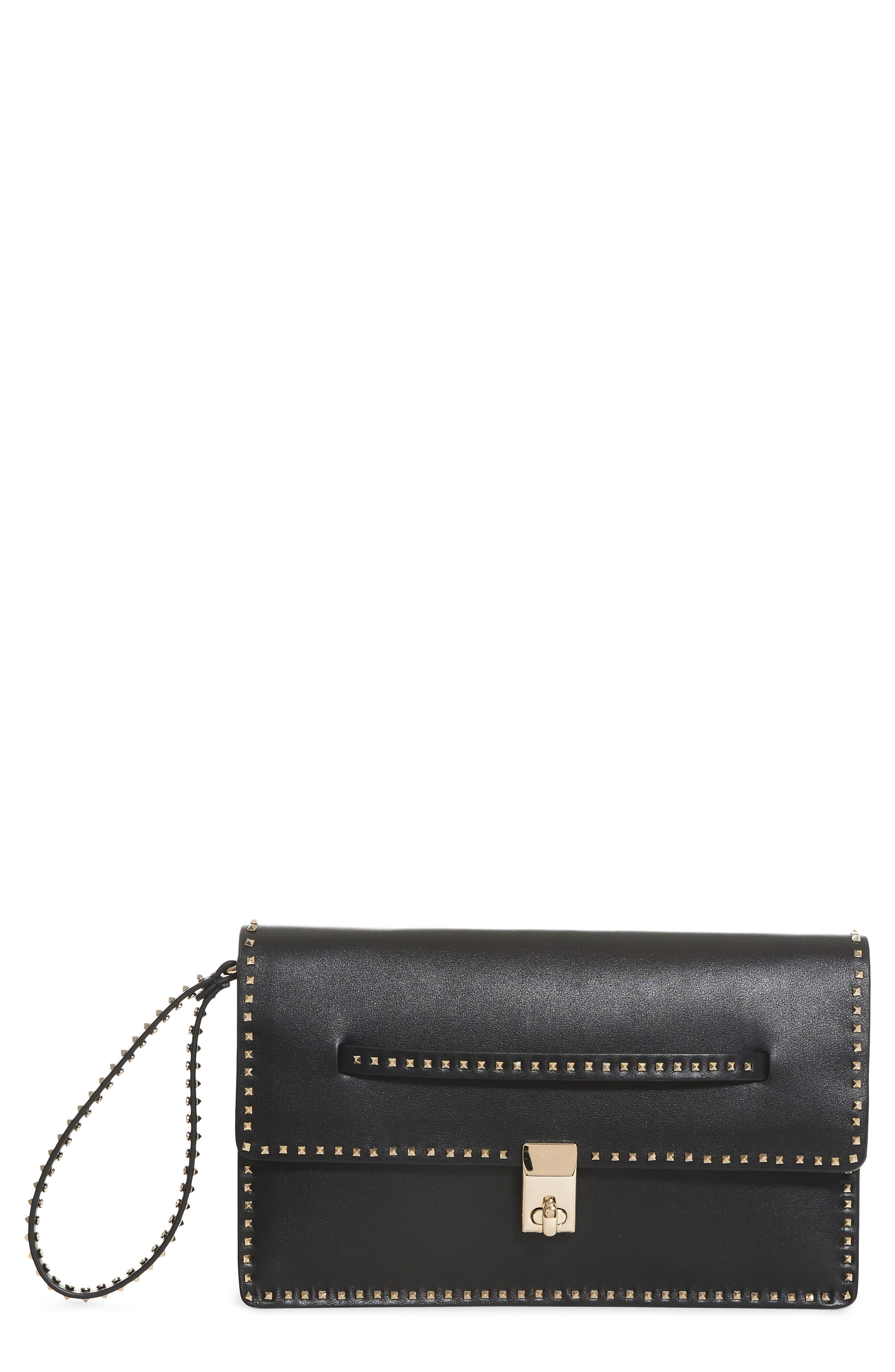 Alternate Image 1 Selected - VALENTINO GARAVANI Rockstud Calfskin Leather Clutch