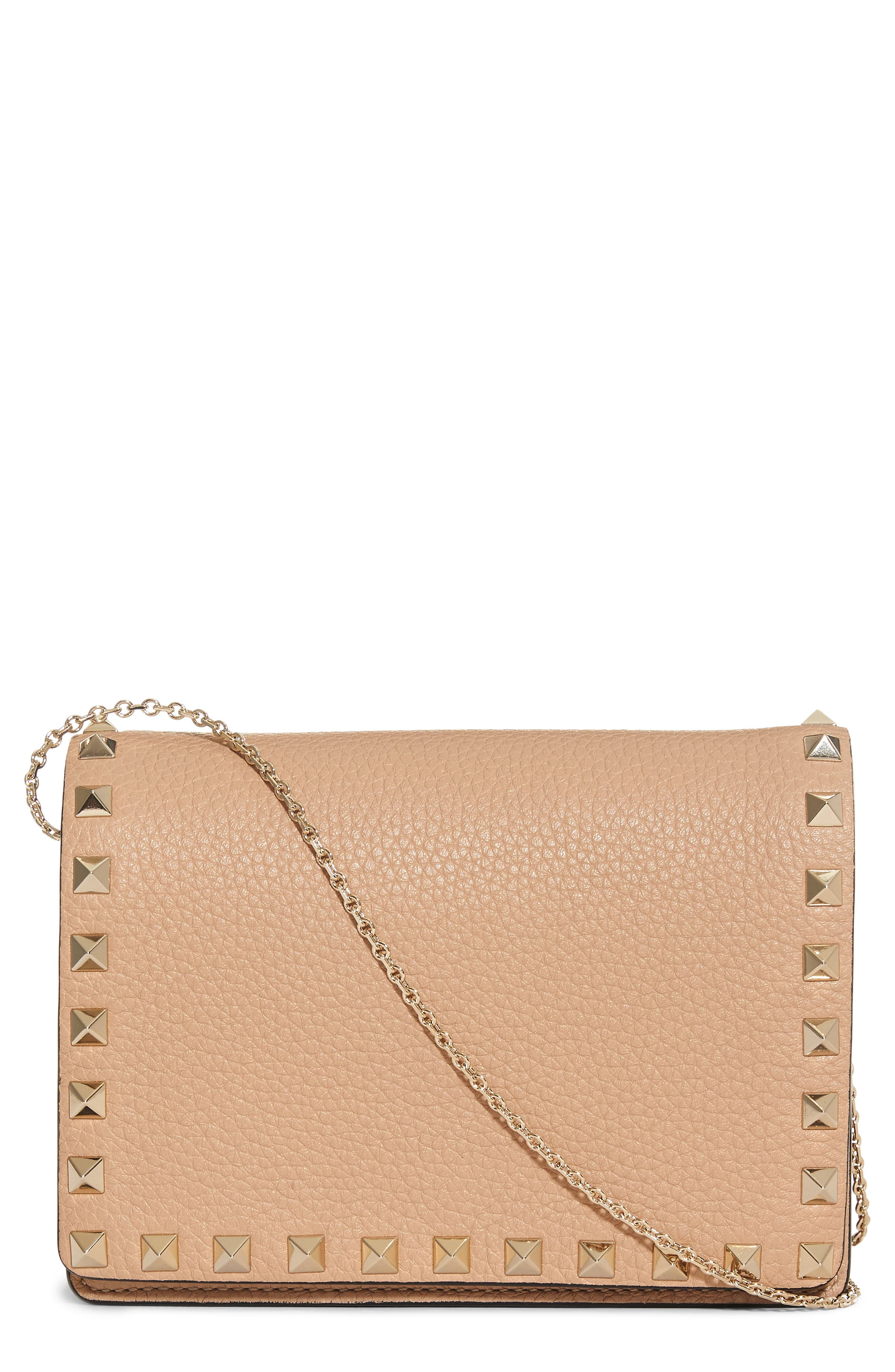 Rockstud Leather Wallet on a Chain,                         Main,                         color, Camel Rose