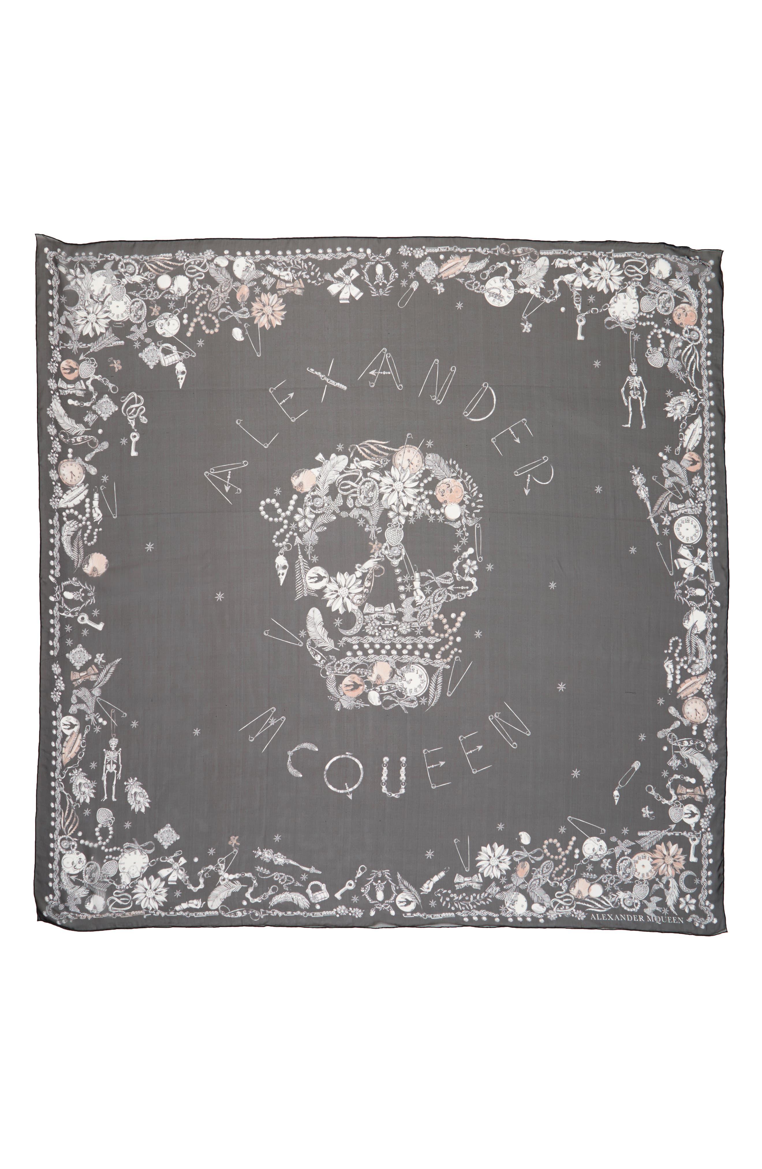 ALEXANDER MCQUEEN Jeweled Skull Silk Scarf