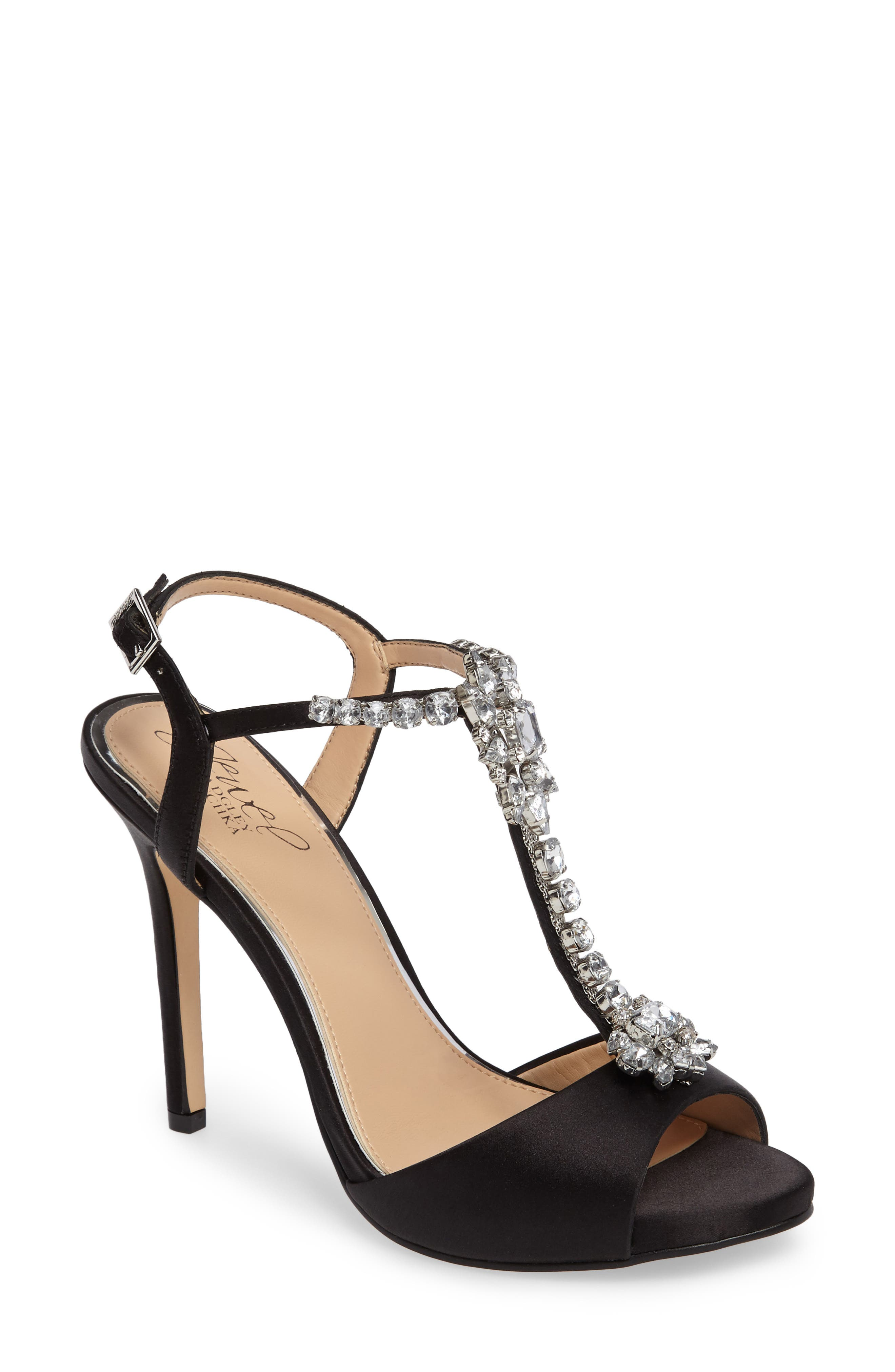 Leeane T-Strap Sandal,                             Main thumbnail 1, color,                             Black Satin