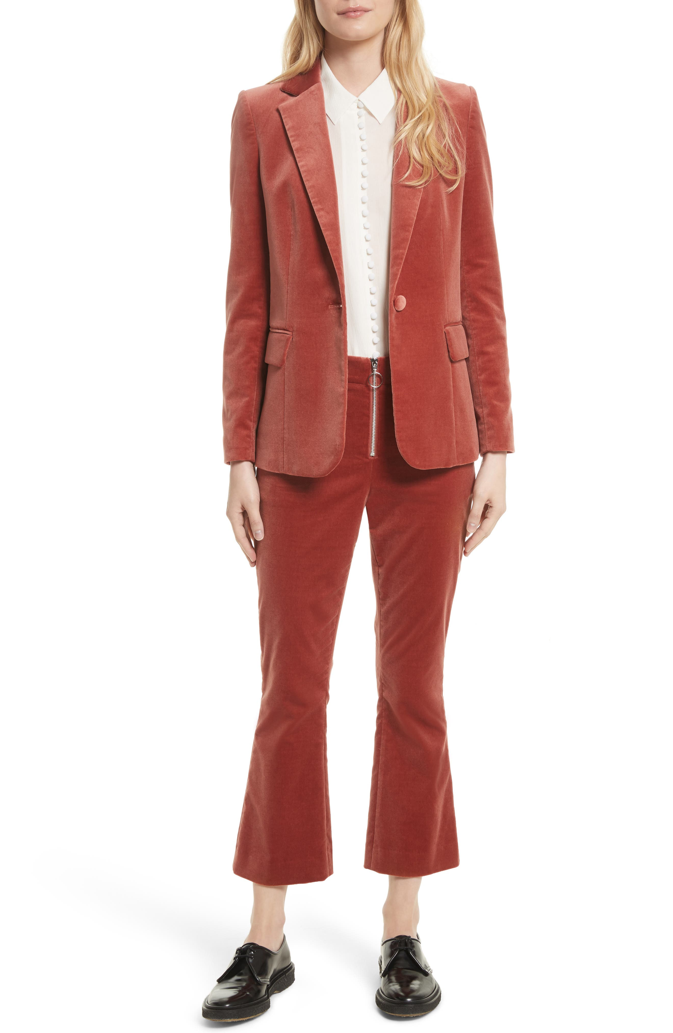 Stretch Velvet Blazer,                             Alternate thumbnail 6, color,                             Spice