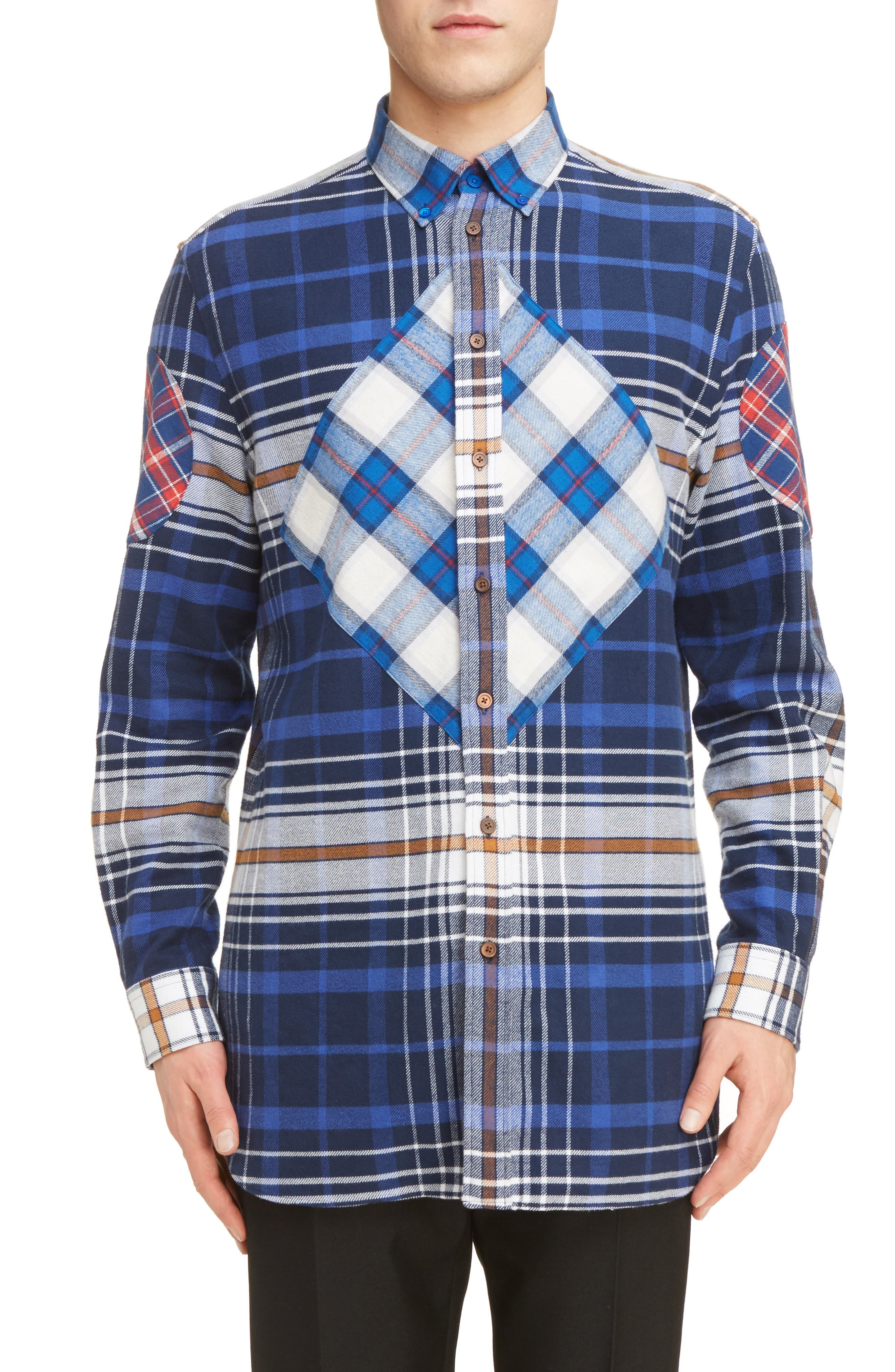 Cuban Fit Pieced Flannel Shirt,                         Main,                         color, Blue Multi