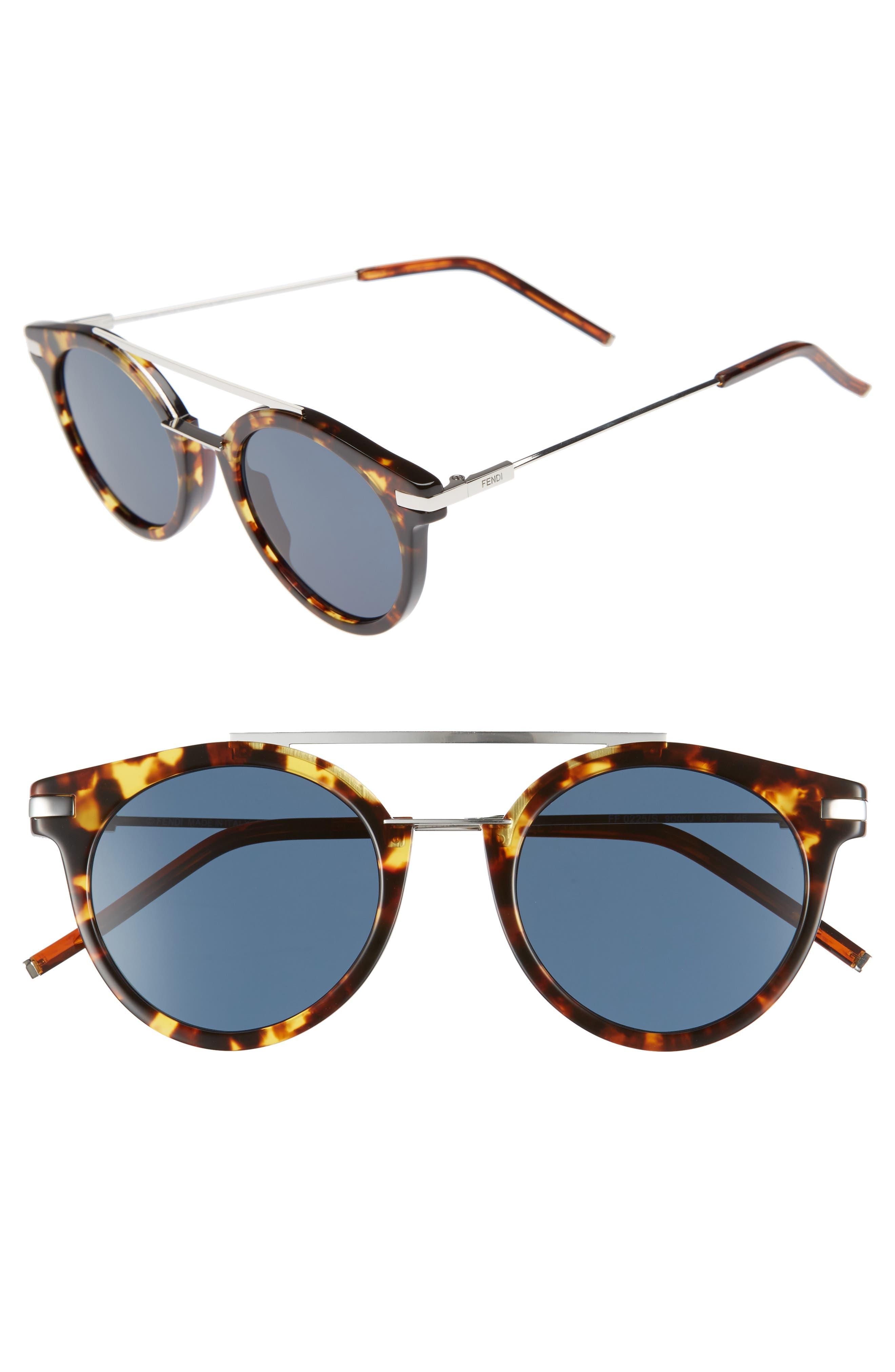 Fendi 49mm Mirrored Retro Sunglasses