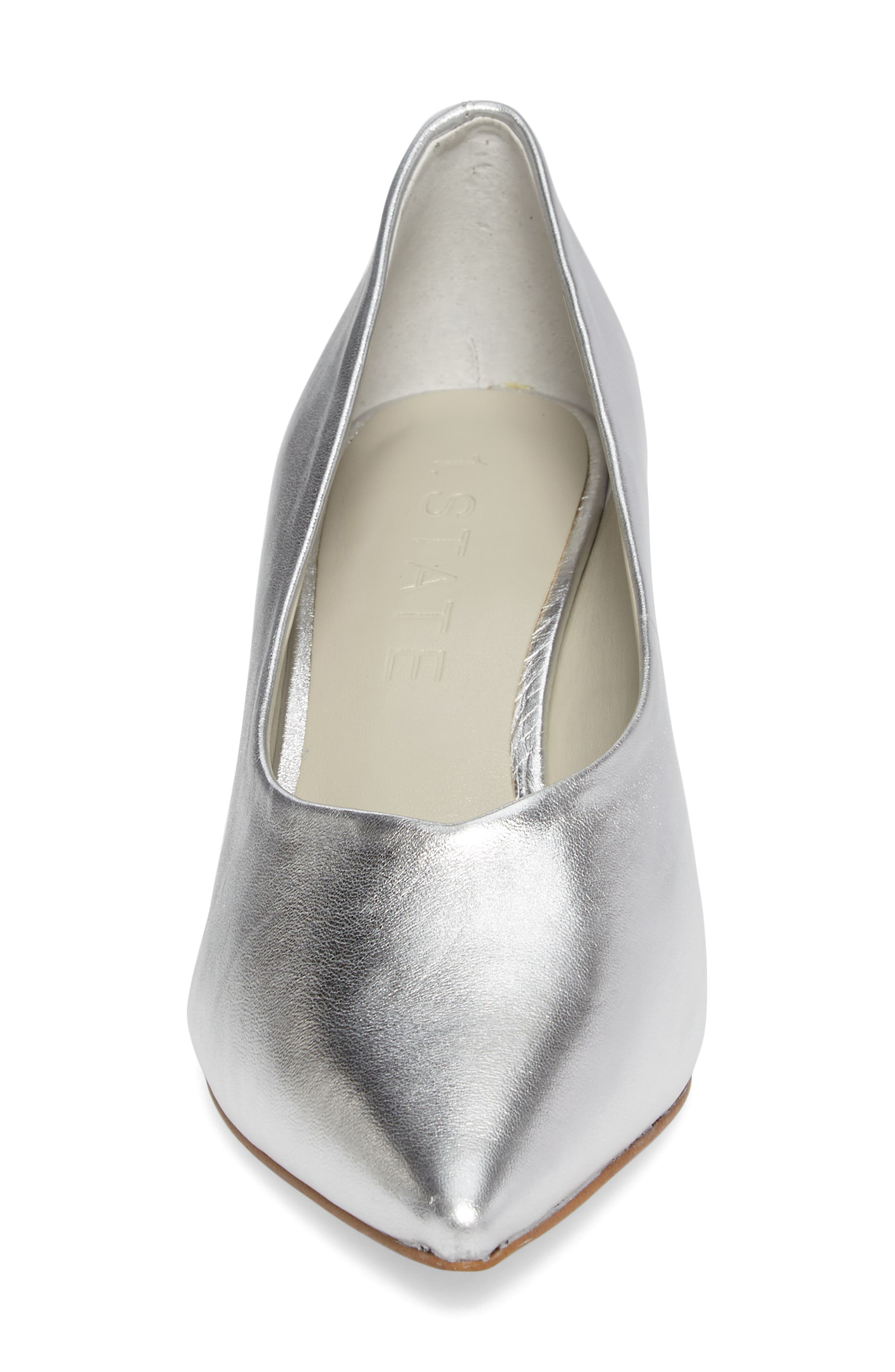 Jact Pointy Toe Pump,                             Alternate thumbnail 4, color,                             Bright Silver Leather