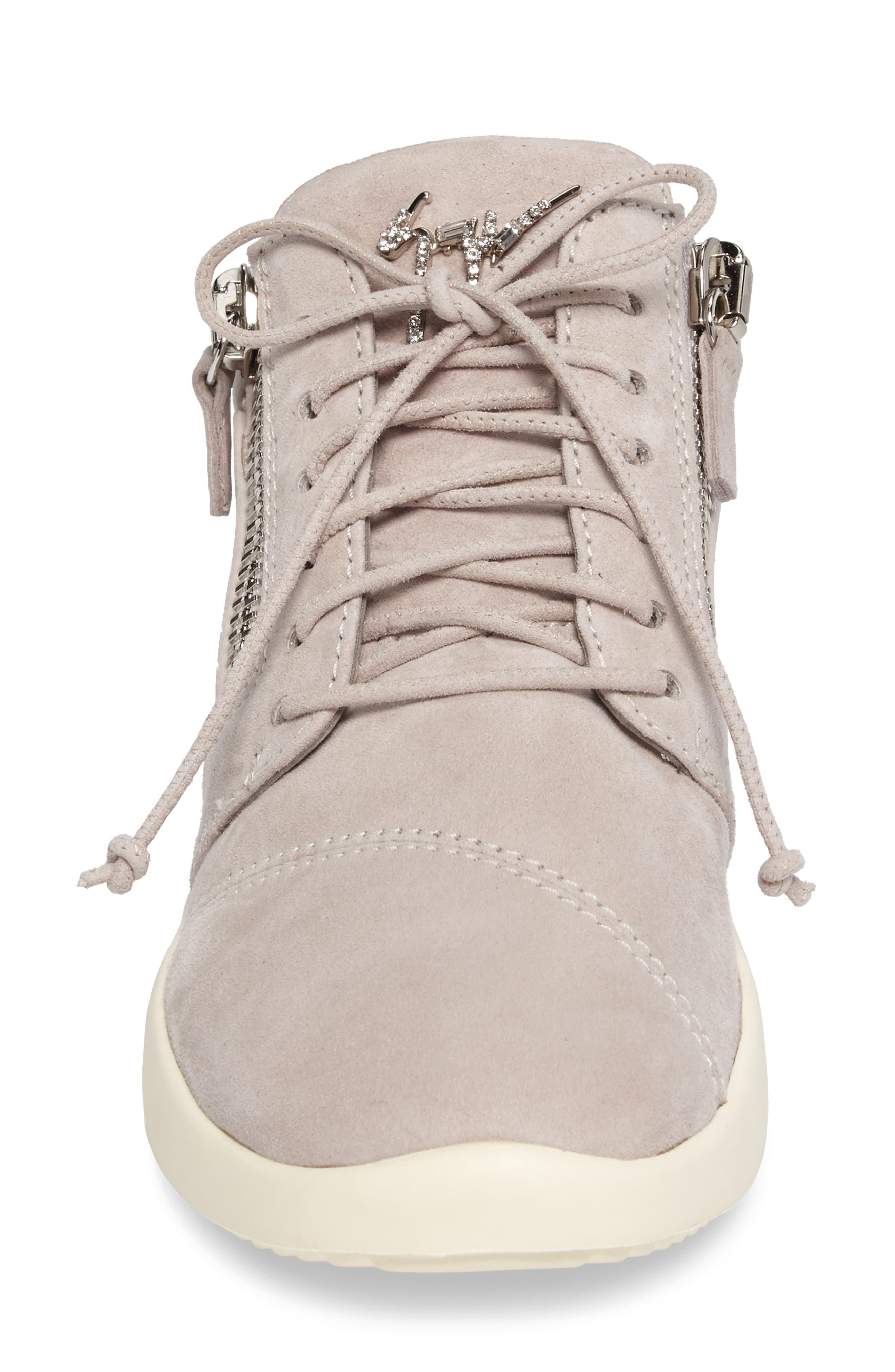 Zip Mid-Top Sneaker,                             Alternate thumbnail 4, color,                             Grey