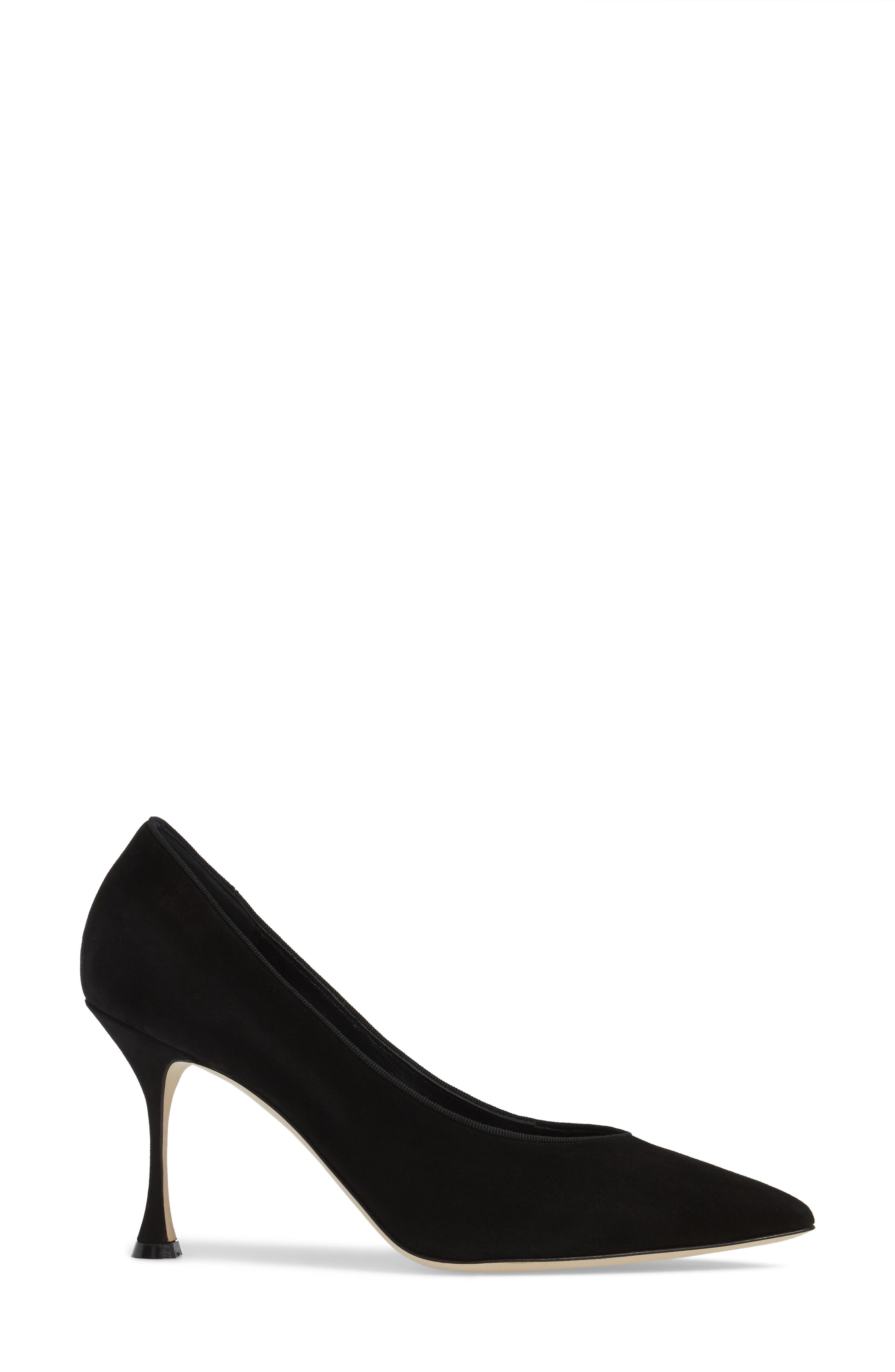 Urgenze Pointy Toe Pump,                             Alternate thumbnail 3, color,                             Black Suede