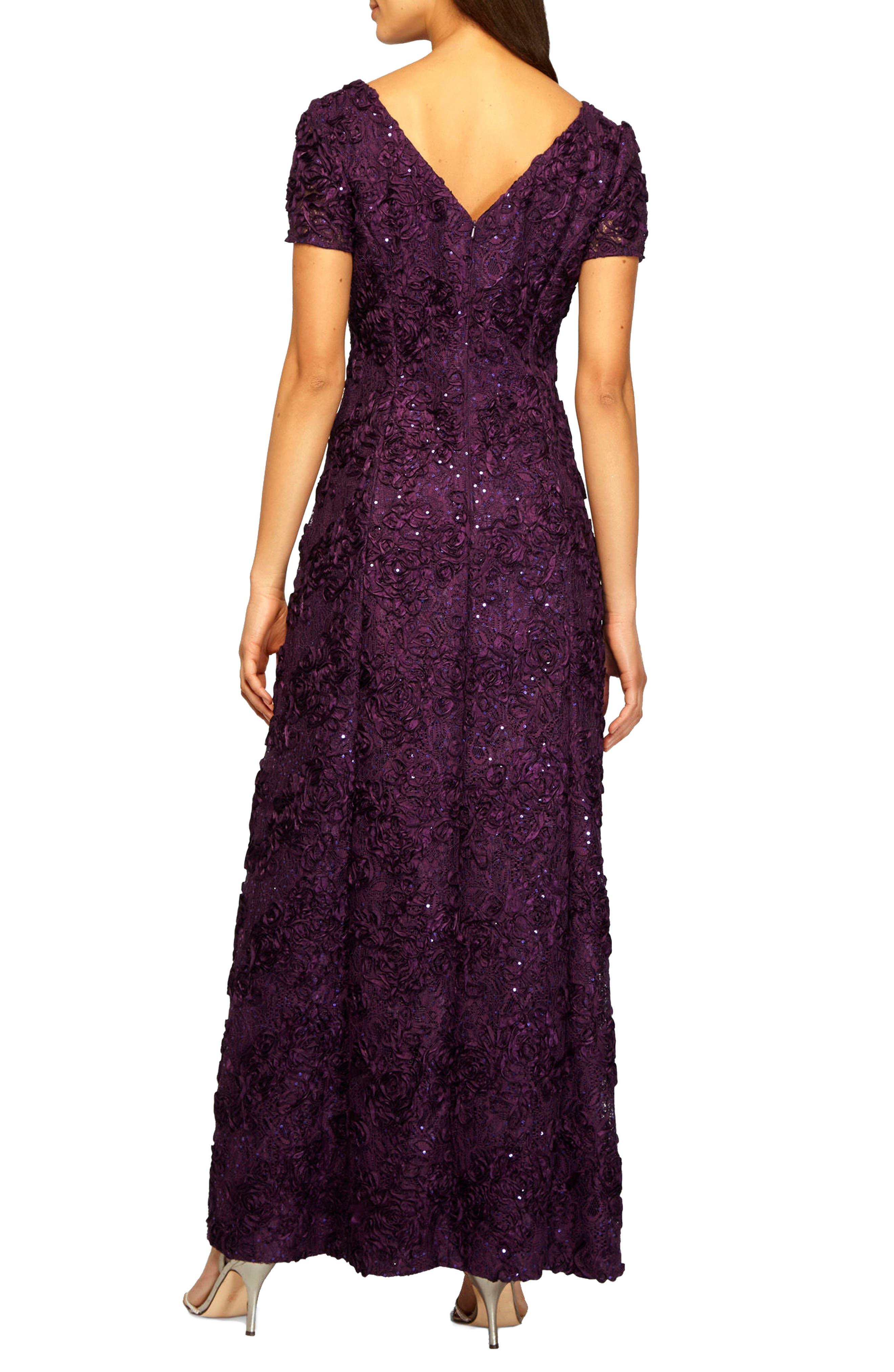 Alternate Image 2  - Alex Evenings Embellished Lace Gown (Regular & Petite)