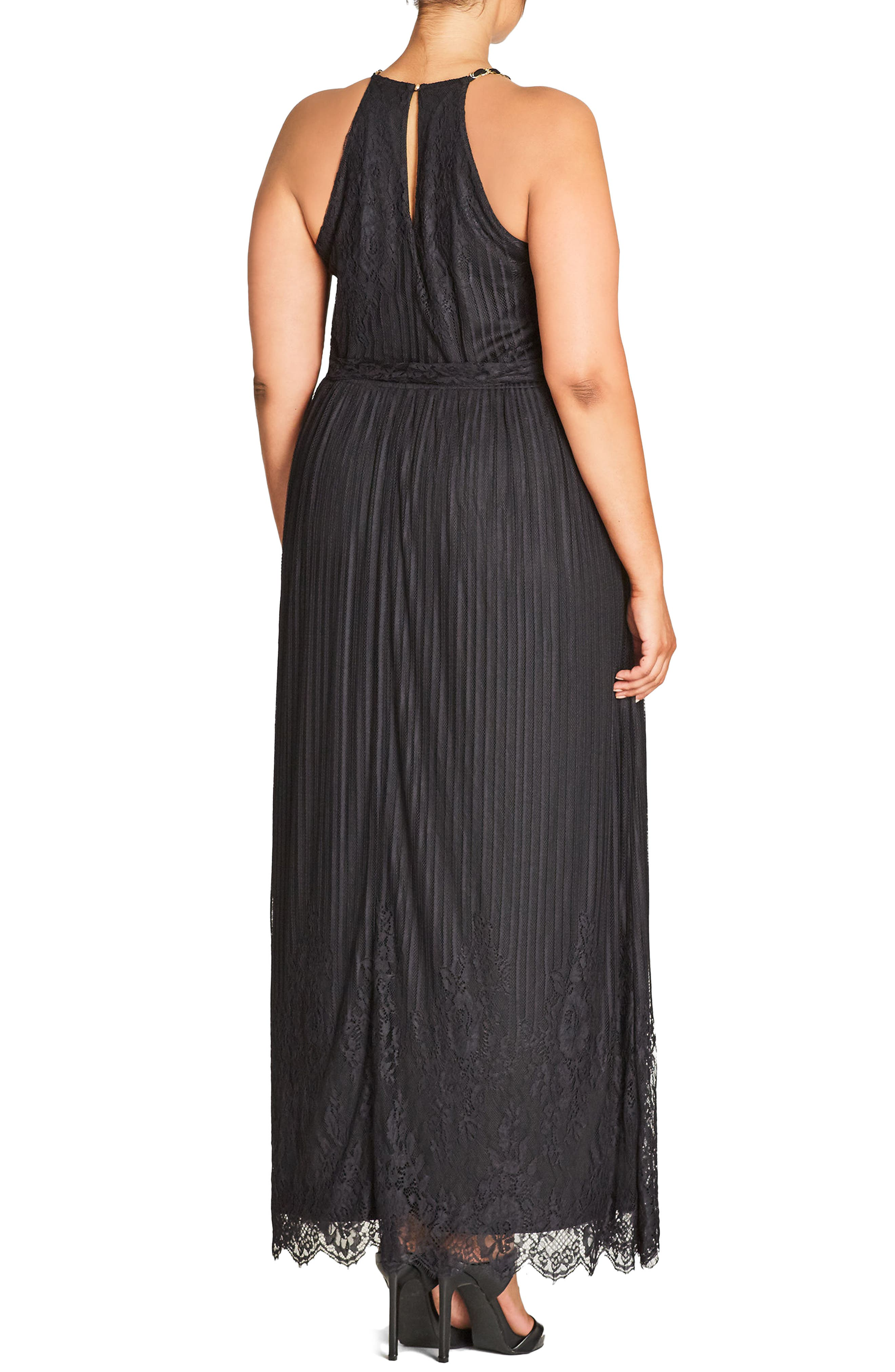 Studio 54 Stripe Lace Maxi Dress,                             Alternate thumbnail 2, color,                             Black