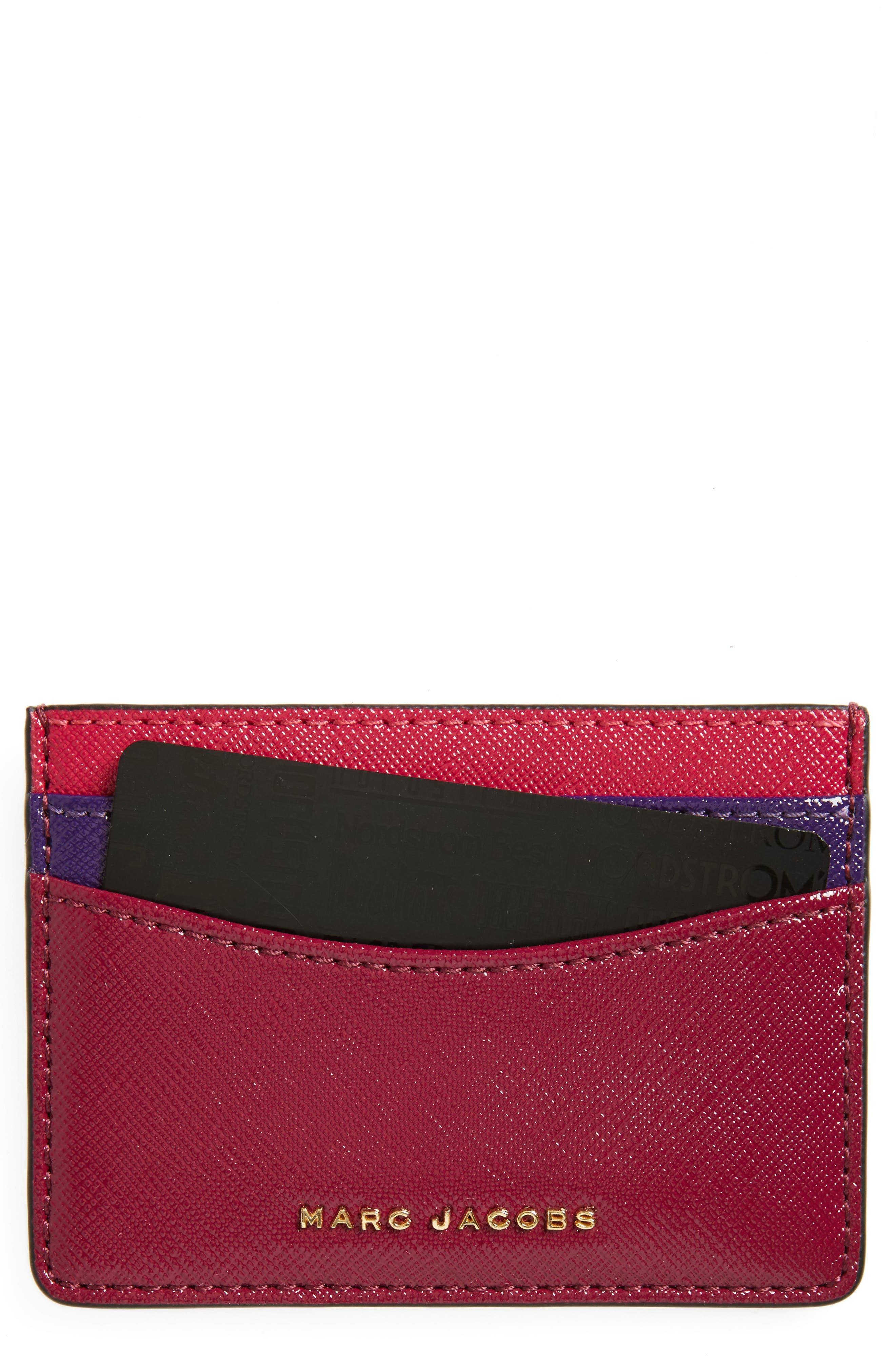 MARC JACOBS Color Block Saffiano Leather Card Case