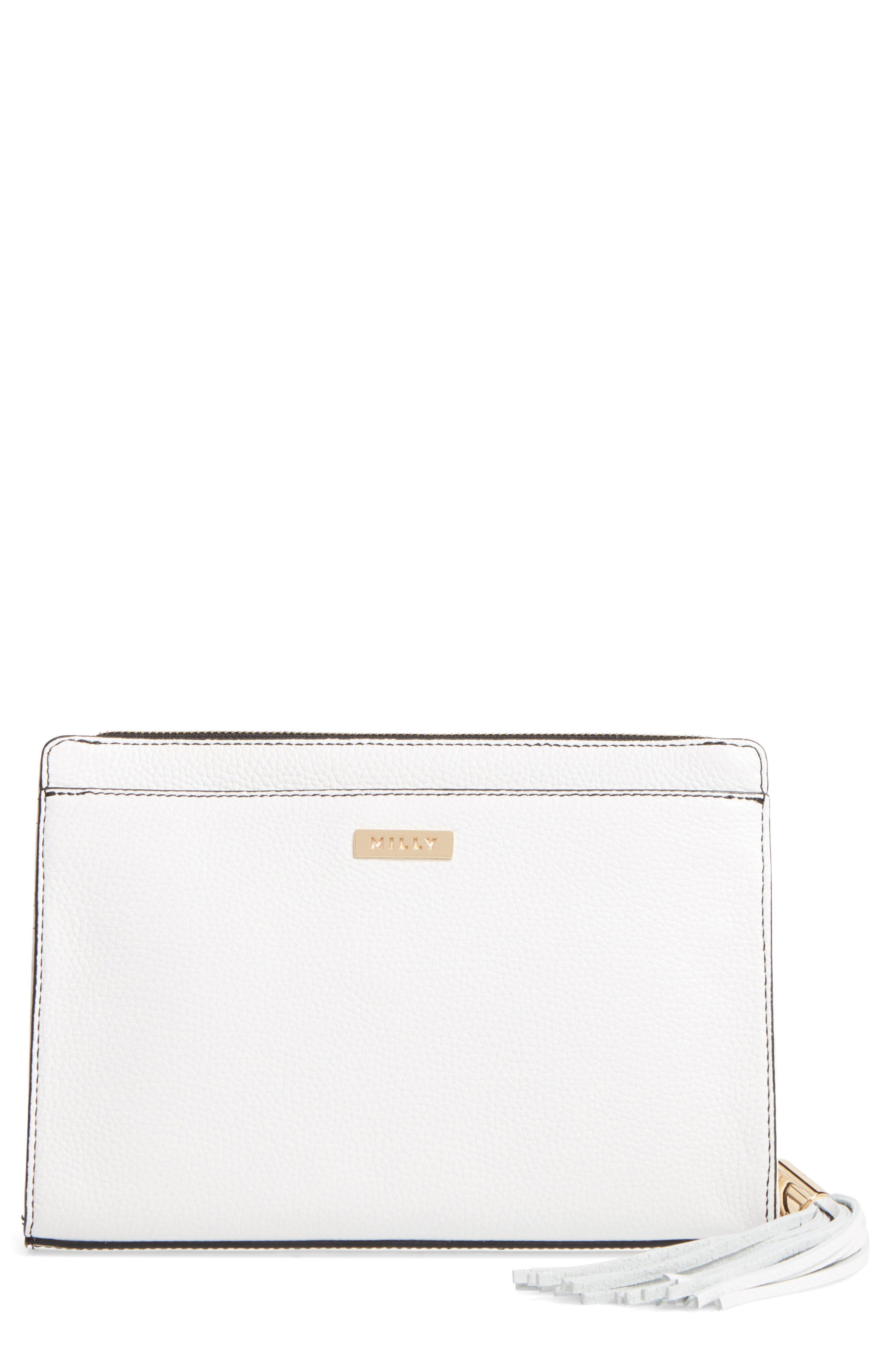 Astor Leather Clutch,                             Alternate thumbnail 3, color,                             White