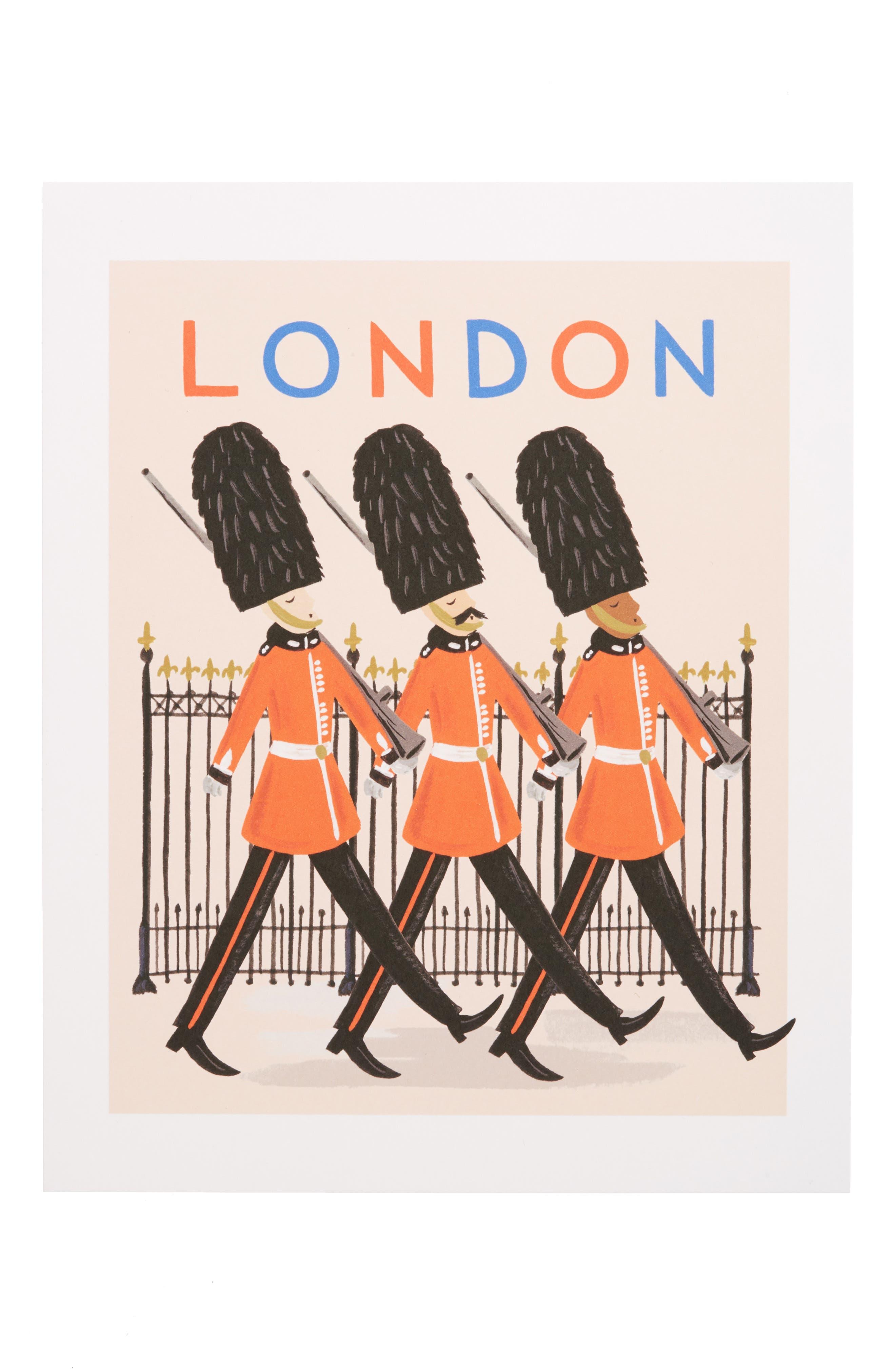 Bon Voyage London Art Print,                         Main,                         color, Red
