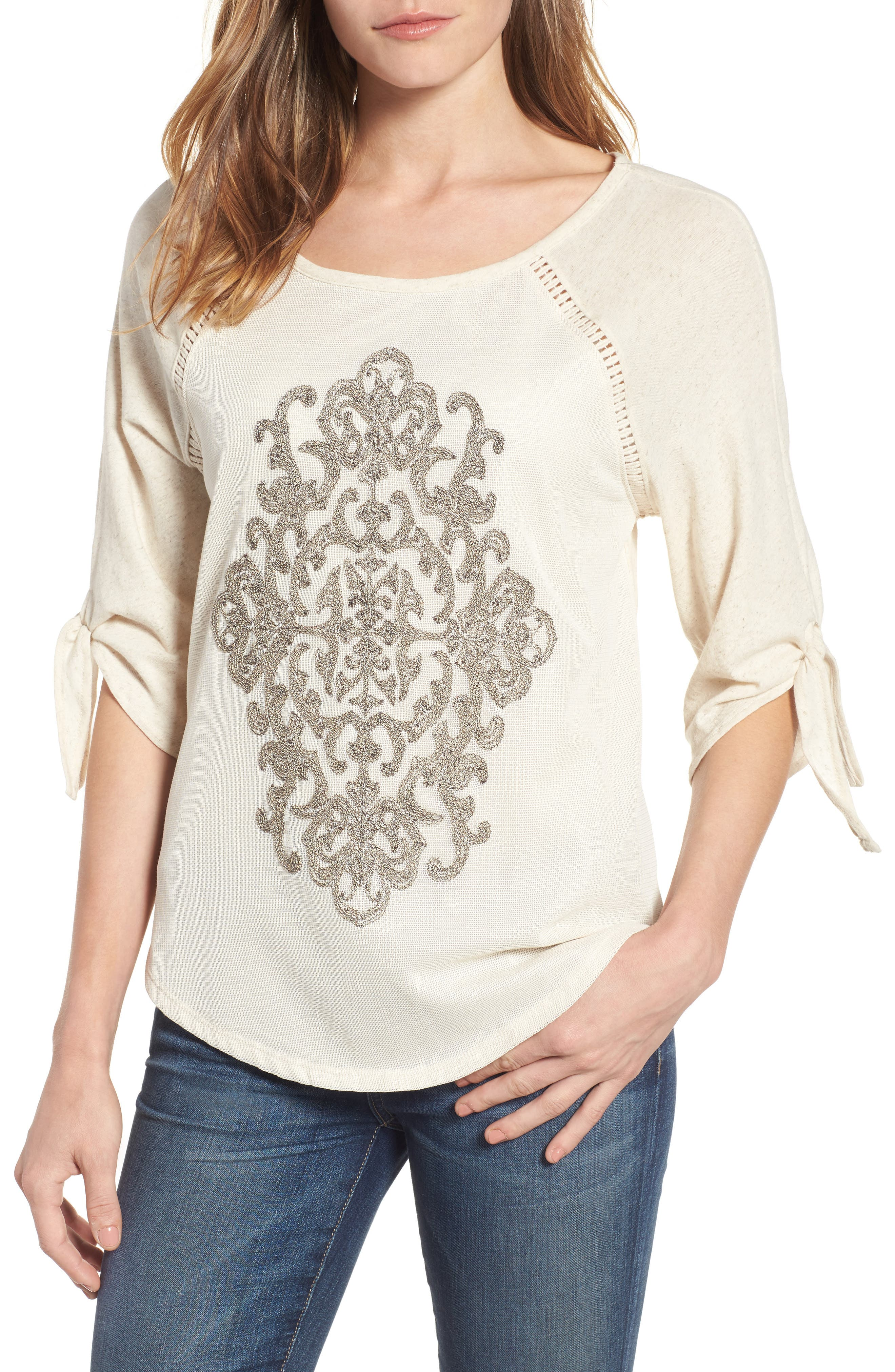 Embroidered Mesh Front Top,                         Main,                         color, Oatmeal