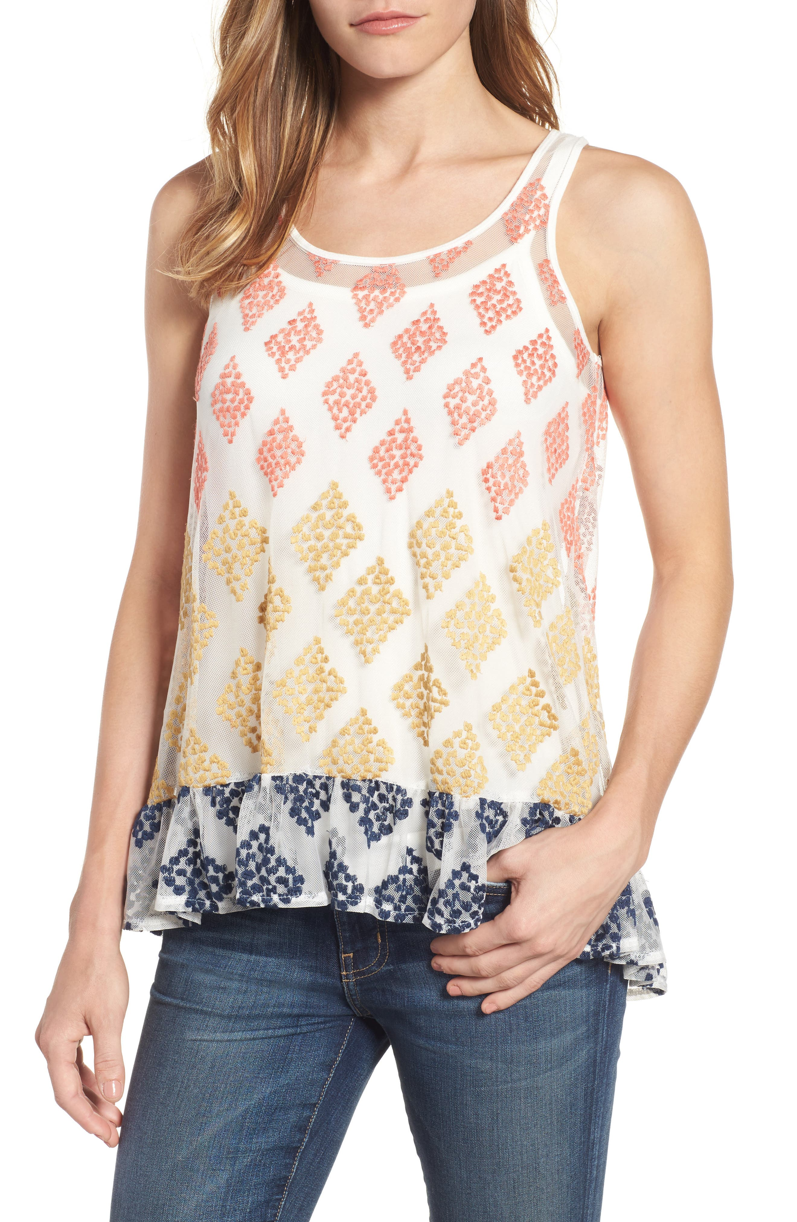 Embroidered Mesh Peplum Tank,                             Main thumbnail 1, color,                             Off White