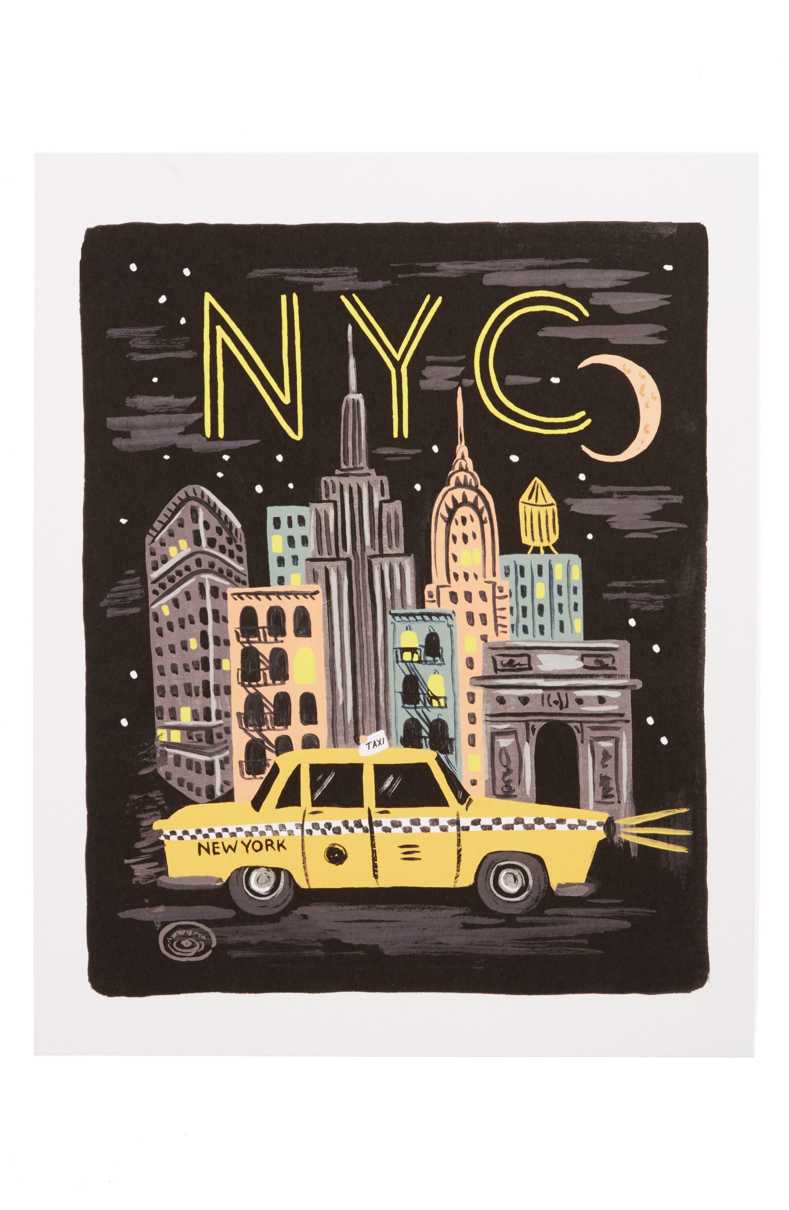 Bon Voyage NYC Art Print,                         Main,                         color, White