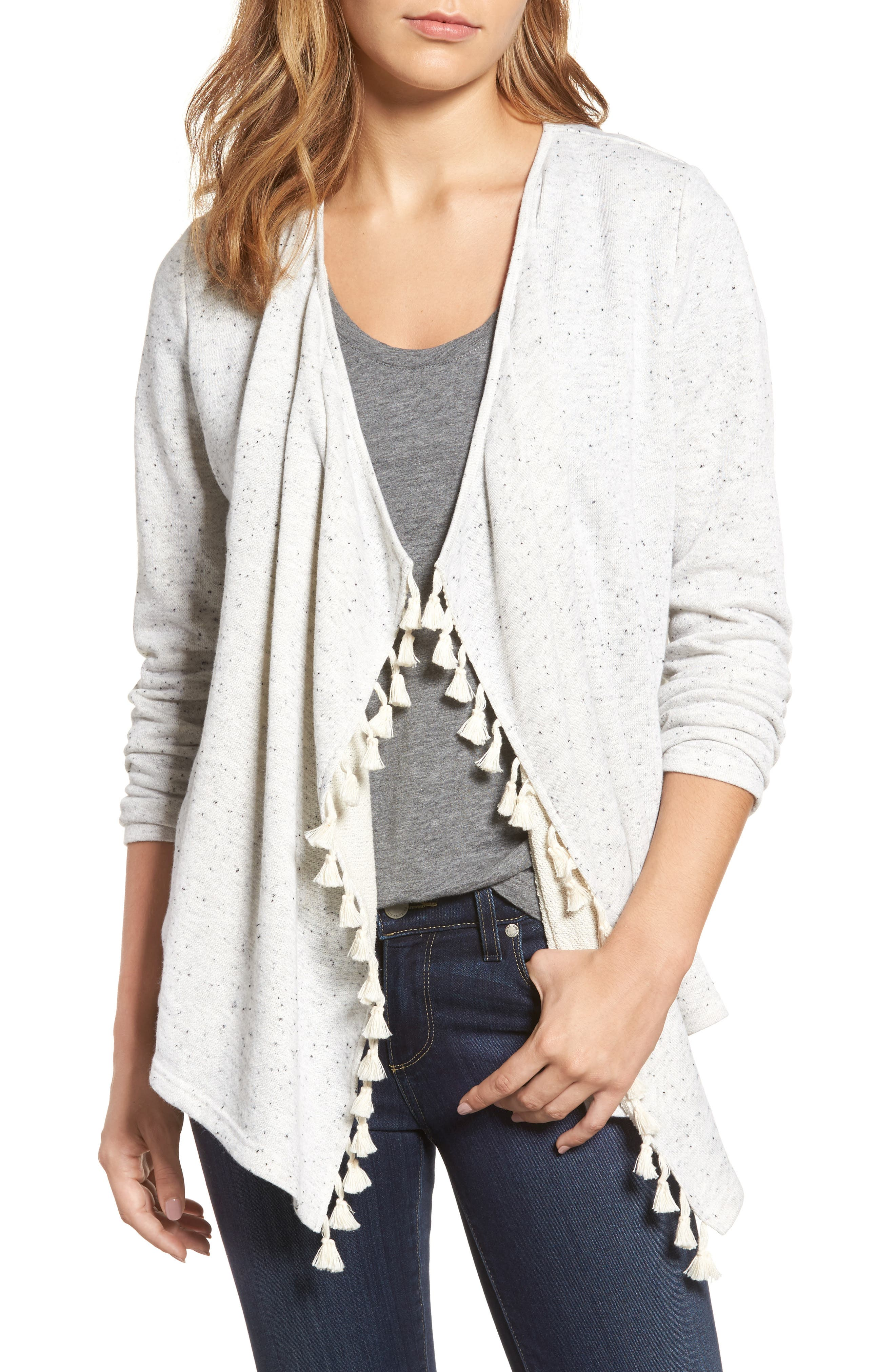 Caslon® Tassel Trim French Terry Cardigan (Regular & Petite)
