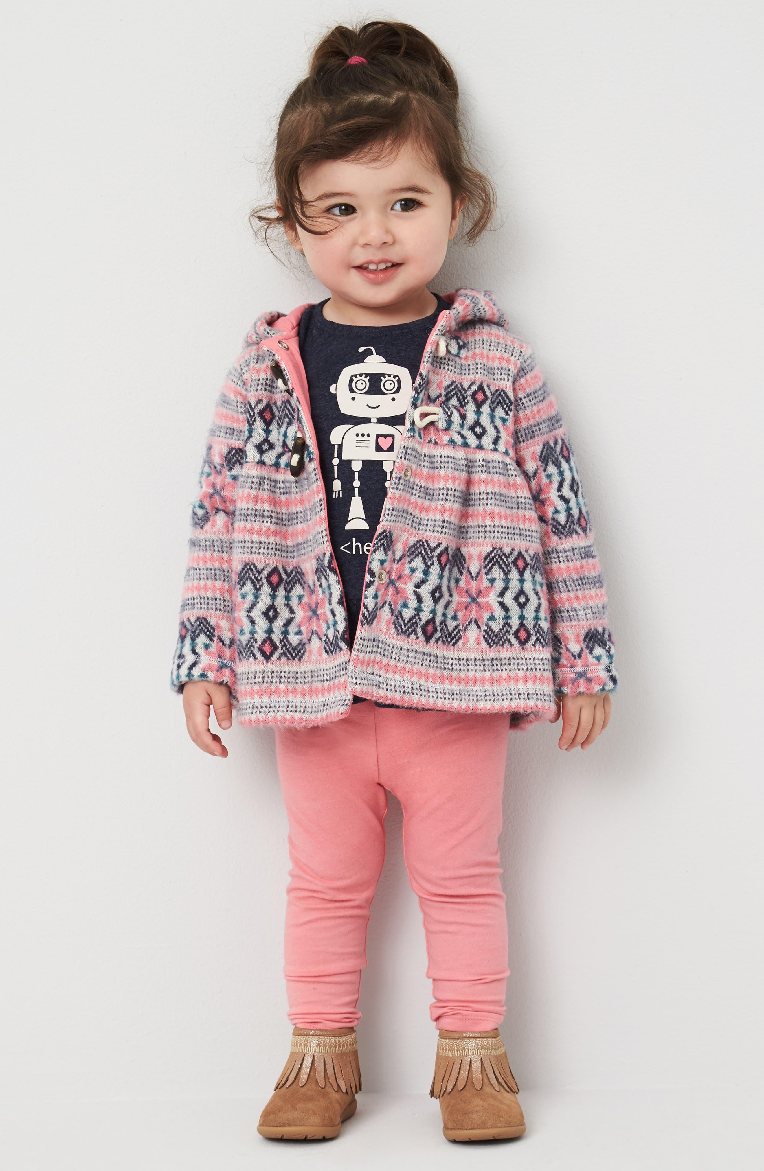Fair Isle Hooded Jacket,                             Alternate thumbnail 3, color,                             Ivory Egret- Pink Fairisle
