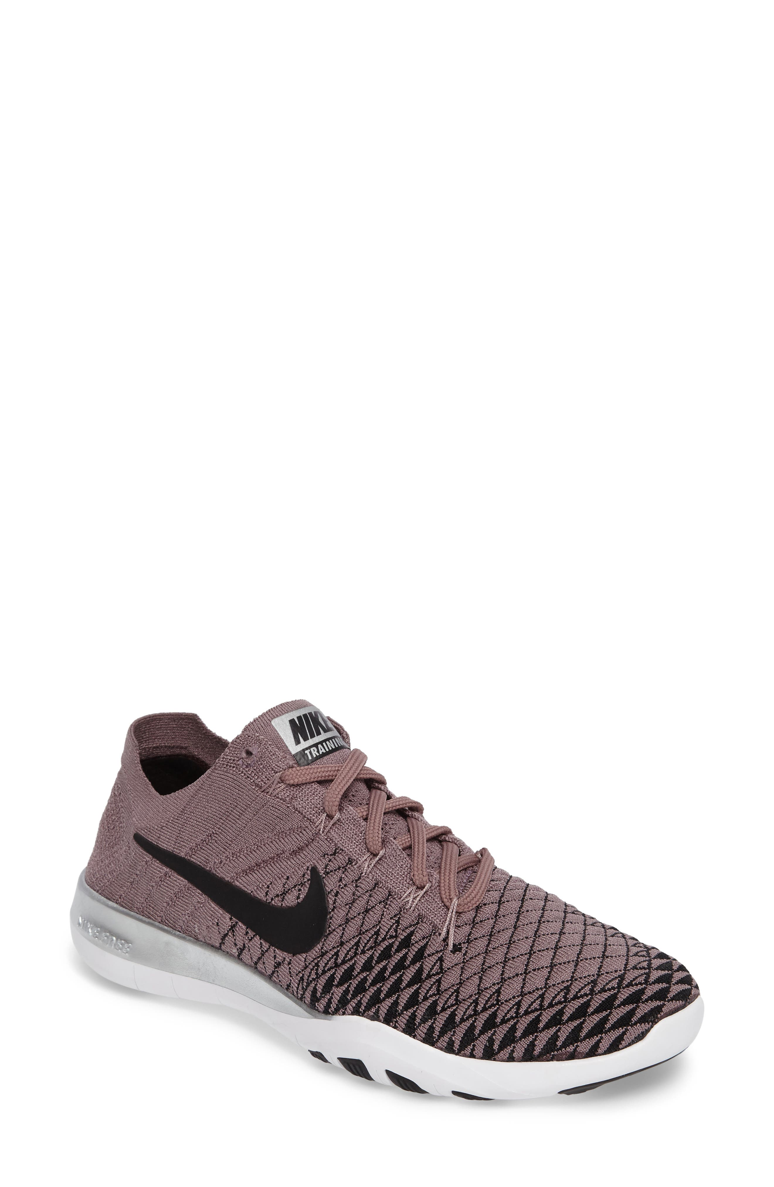 Free Focus Flyknit 2 Bionic Training Shoe,                         Main,                         color, Taupe Grey/ Black/ Chrome