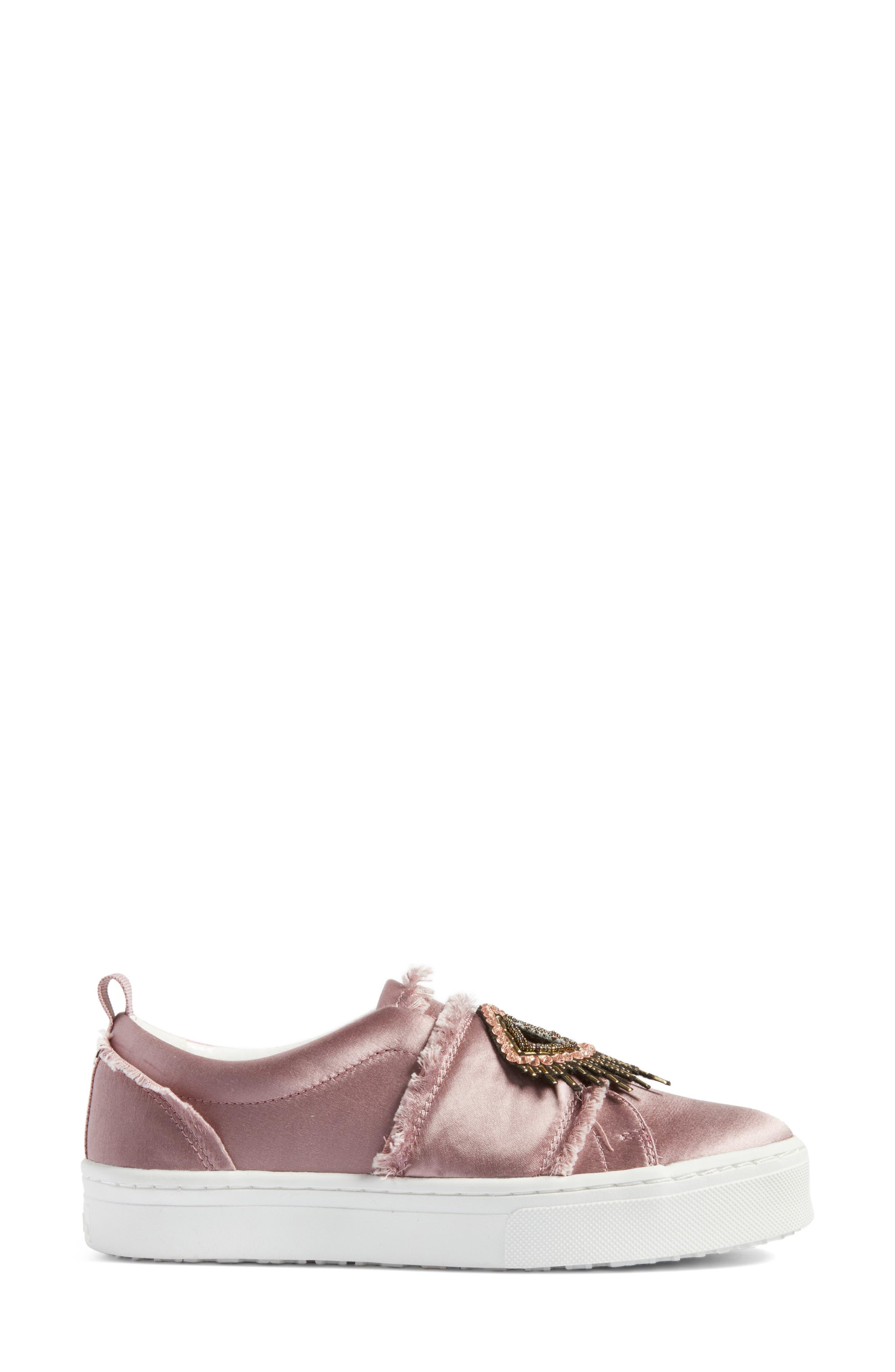 Levine Sneaker,                             Alternate thumbnail 3, color,                             Pearl Pink Satin