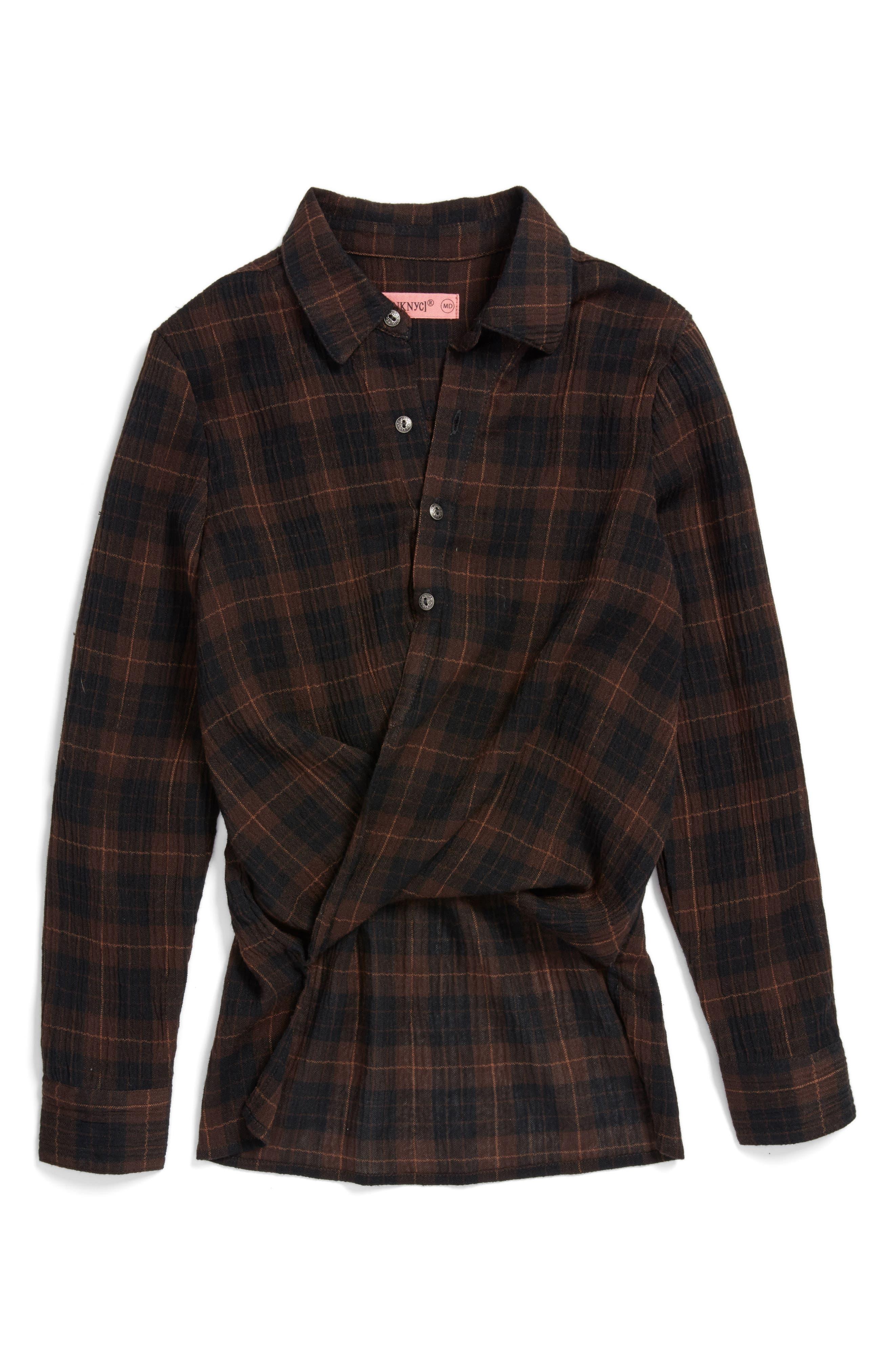 BLANKNYC Draped Plaid Shirt (Big Girls)
