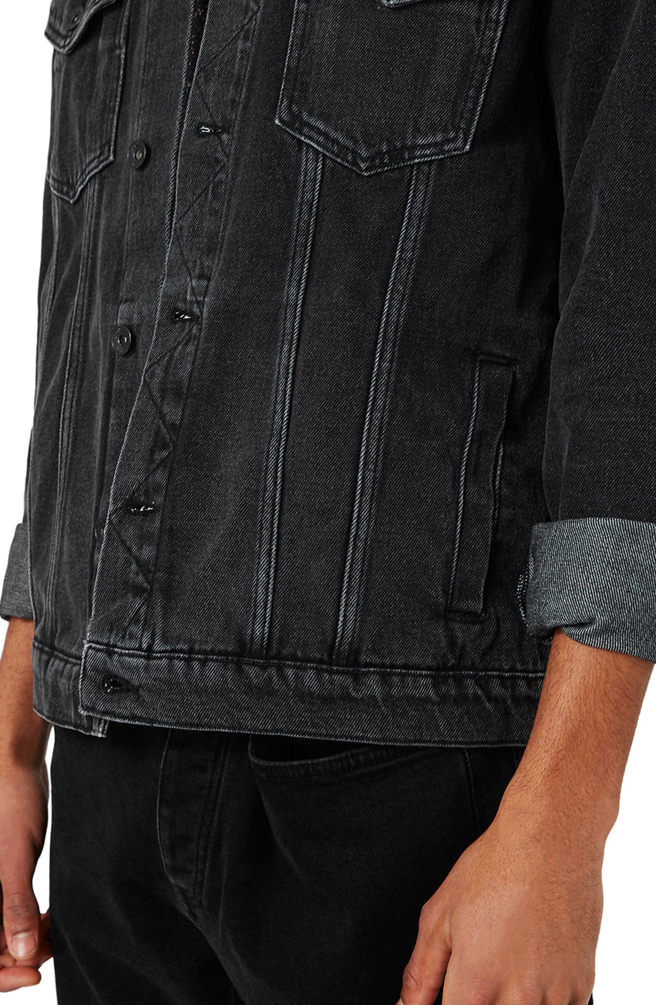 Western Denim Jacket,                             Alternate thumbnail 4, color,                             Black