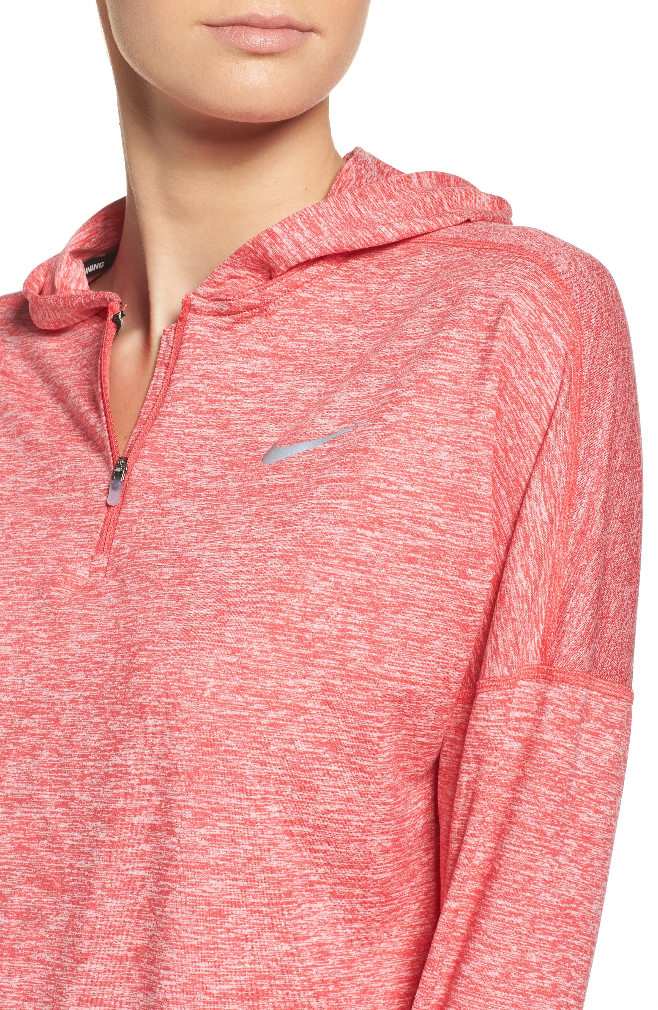 Dry Element Running Hoodie,                             Alternate thumbnail 4, color,                             Light Fusion Red/ Heather