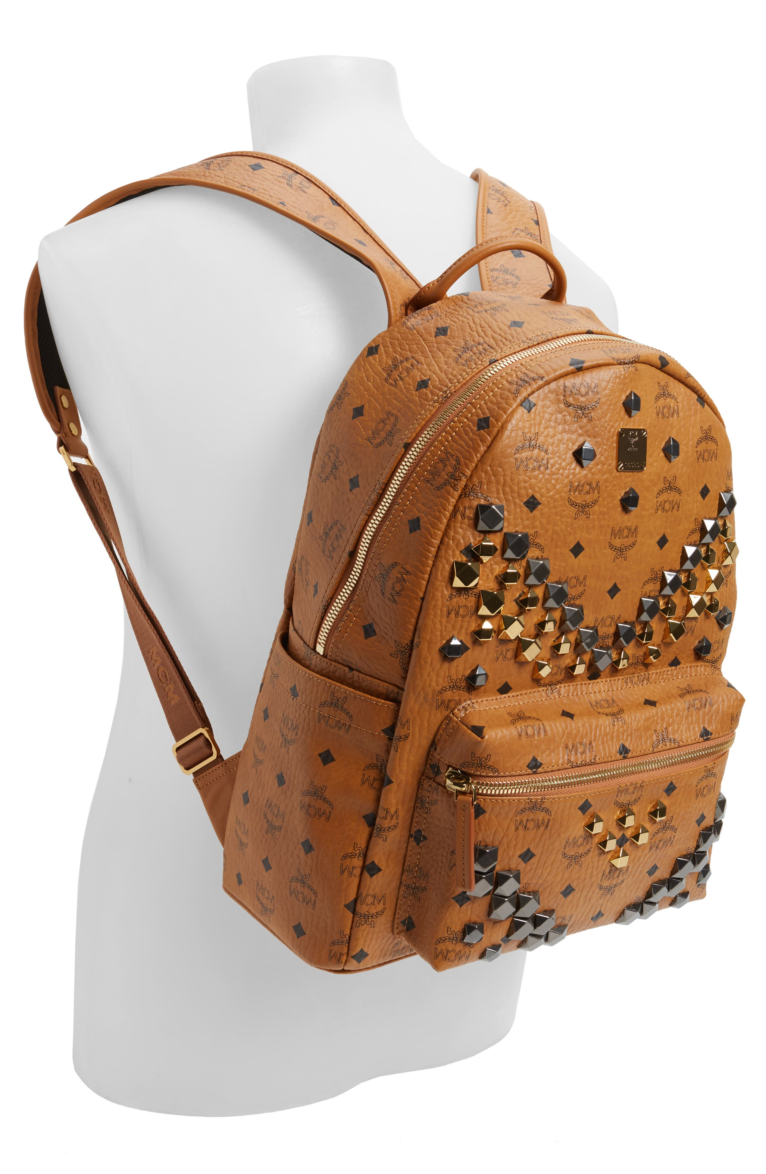 Alternate Image 2  - MCM Medium Stark - Visetos Studded Logo Backpack