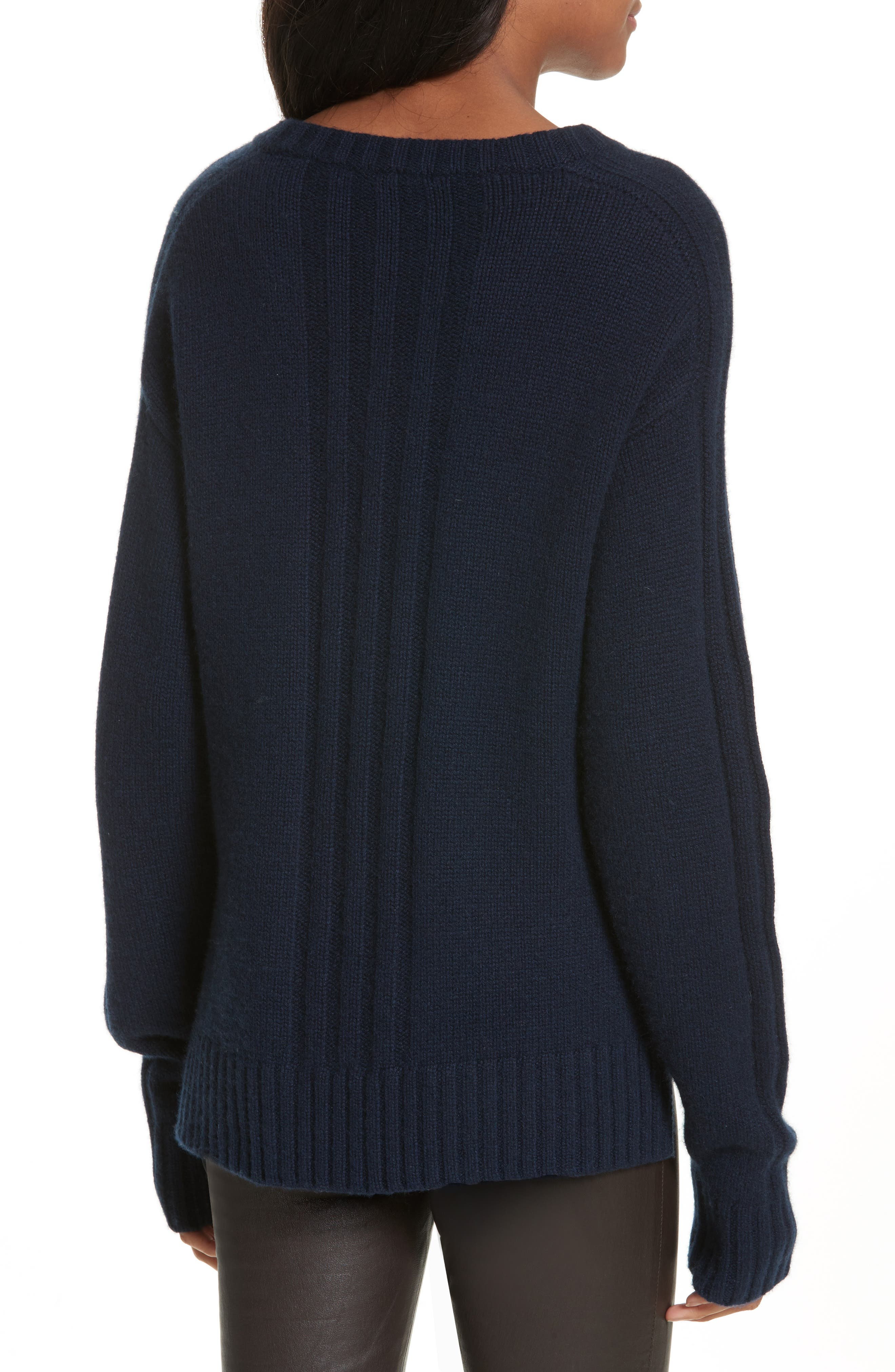 Luxe Cashmere V-Neck Sweater,                             Alternate thumbnail 2, color,                             Navy