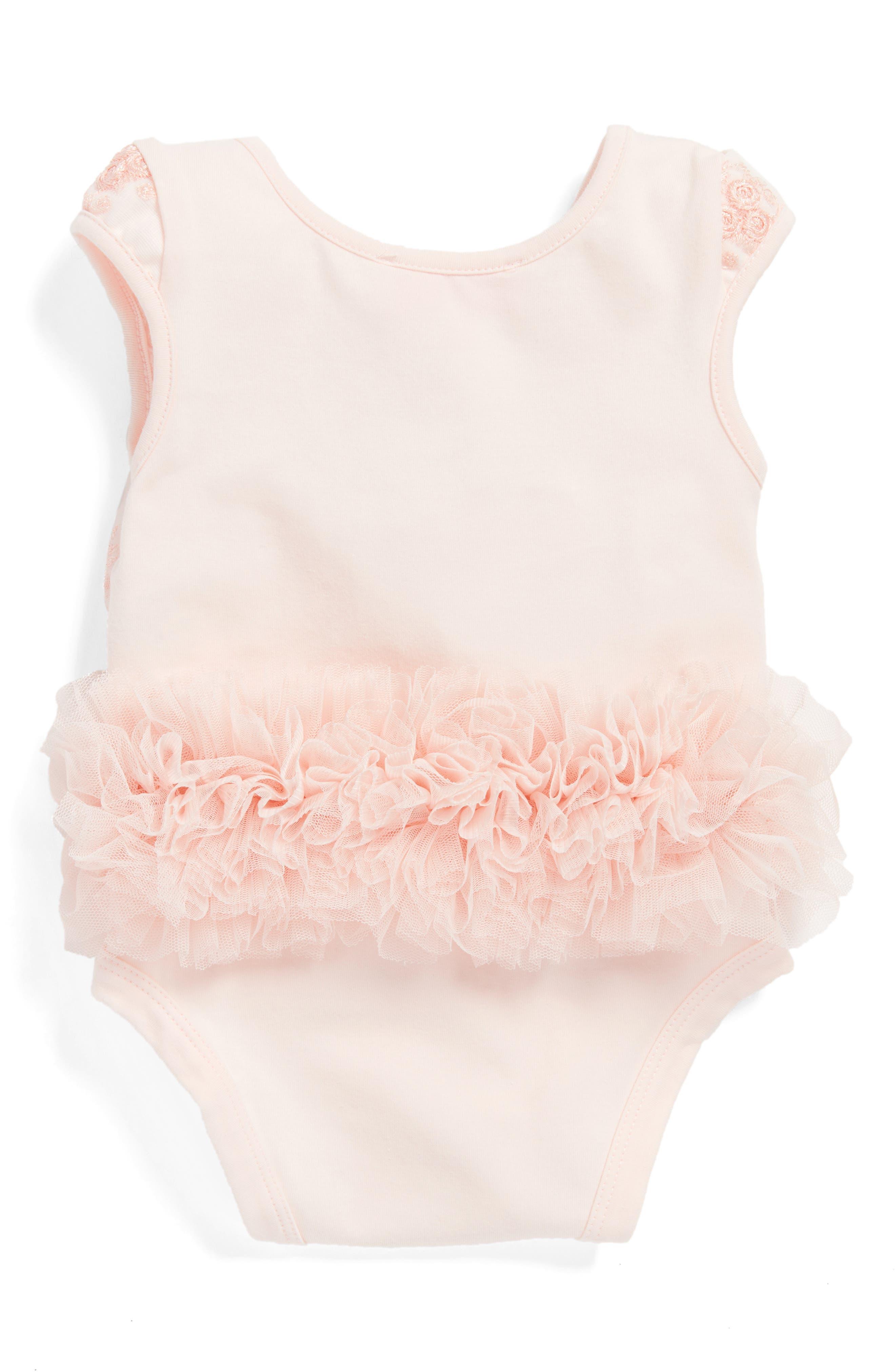 Alternate Image 2  - Popatu Peach Flower Tutu Bodysuit (Baby Girls)