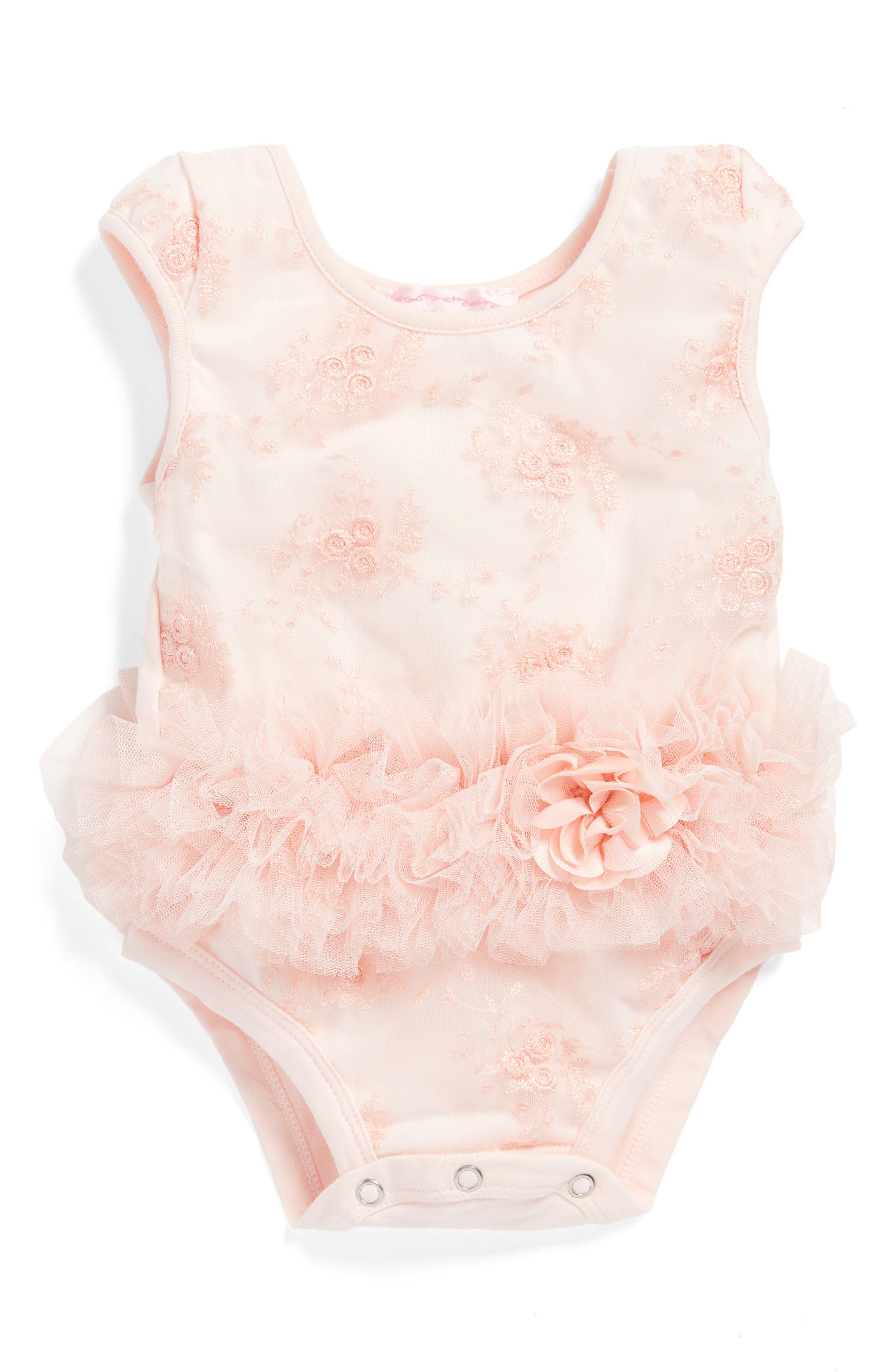 Peach Flower Tutu Bodysuit,                         Main,                         color, Peach