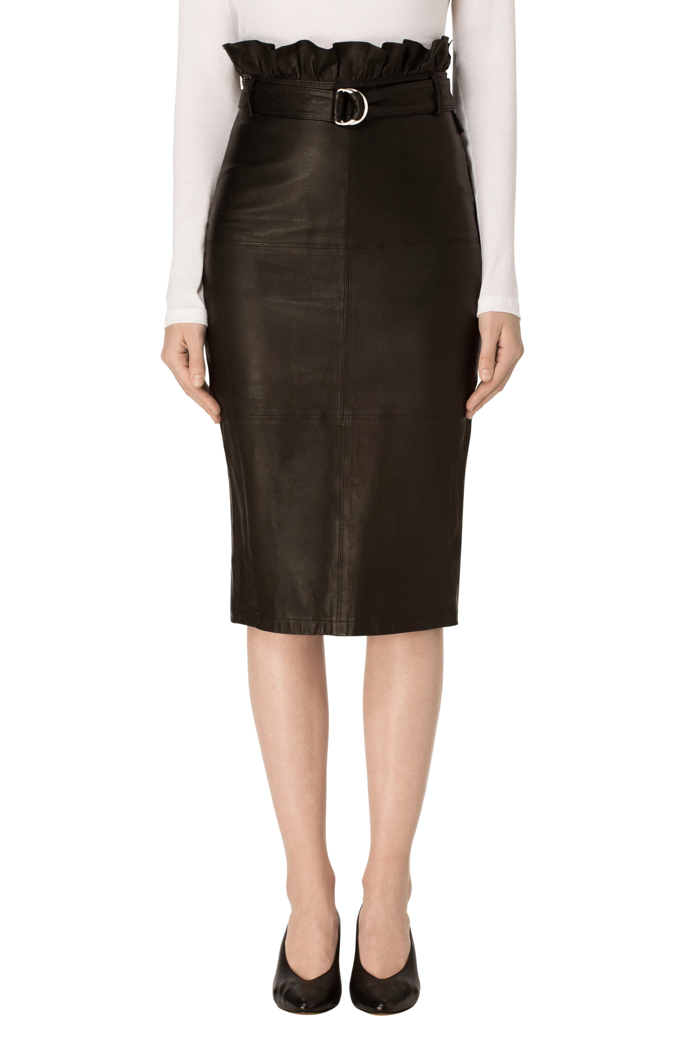 J Brand Claudia Leather Pencil Skirt