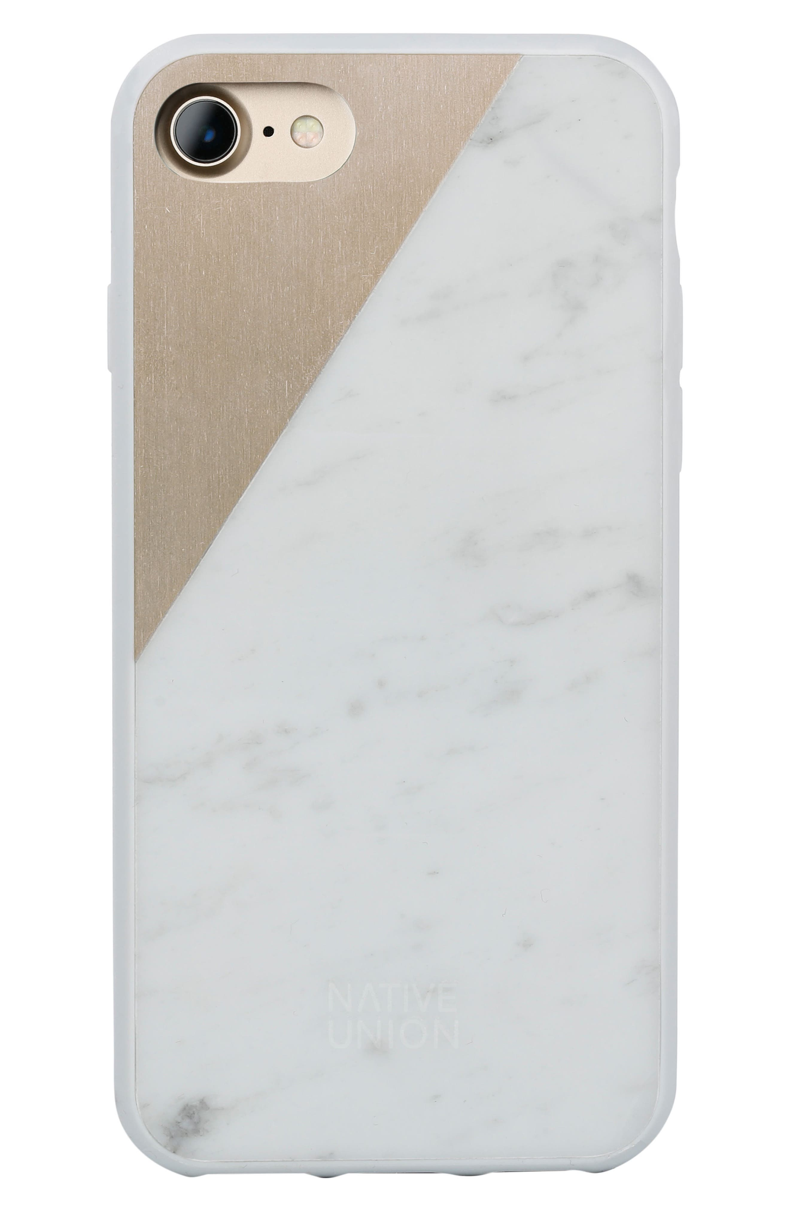 CLIC Marble iPhone 7 & 7 Plus Case,                         Main,                         color, White/ Gold